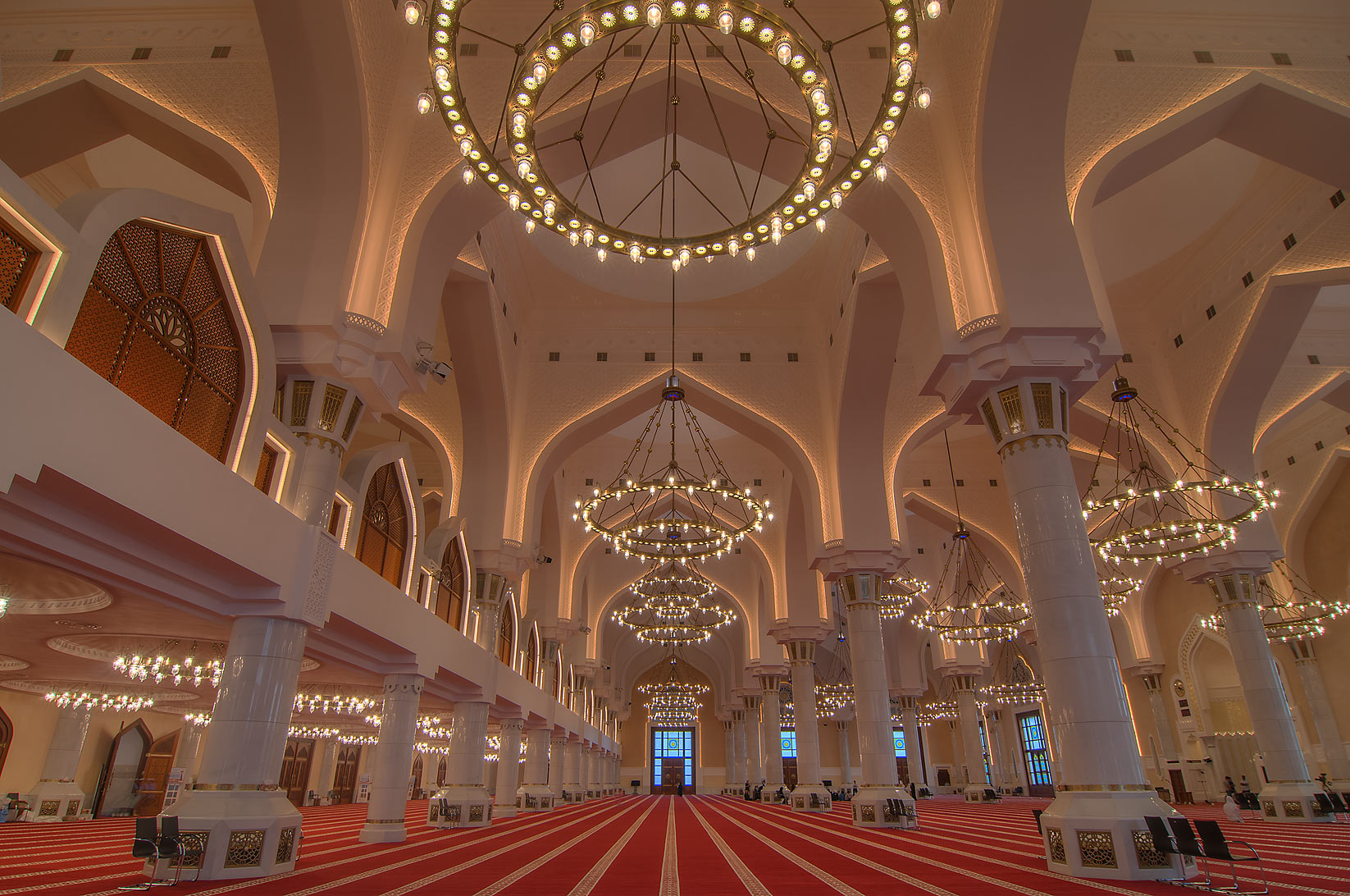 Evening lights in State Mosque (Sheikh Muhammad Ibn Abdul Wahhab Mosque). Doha, Qatar