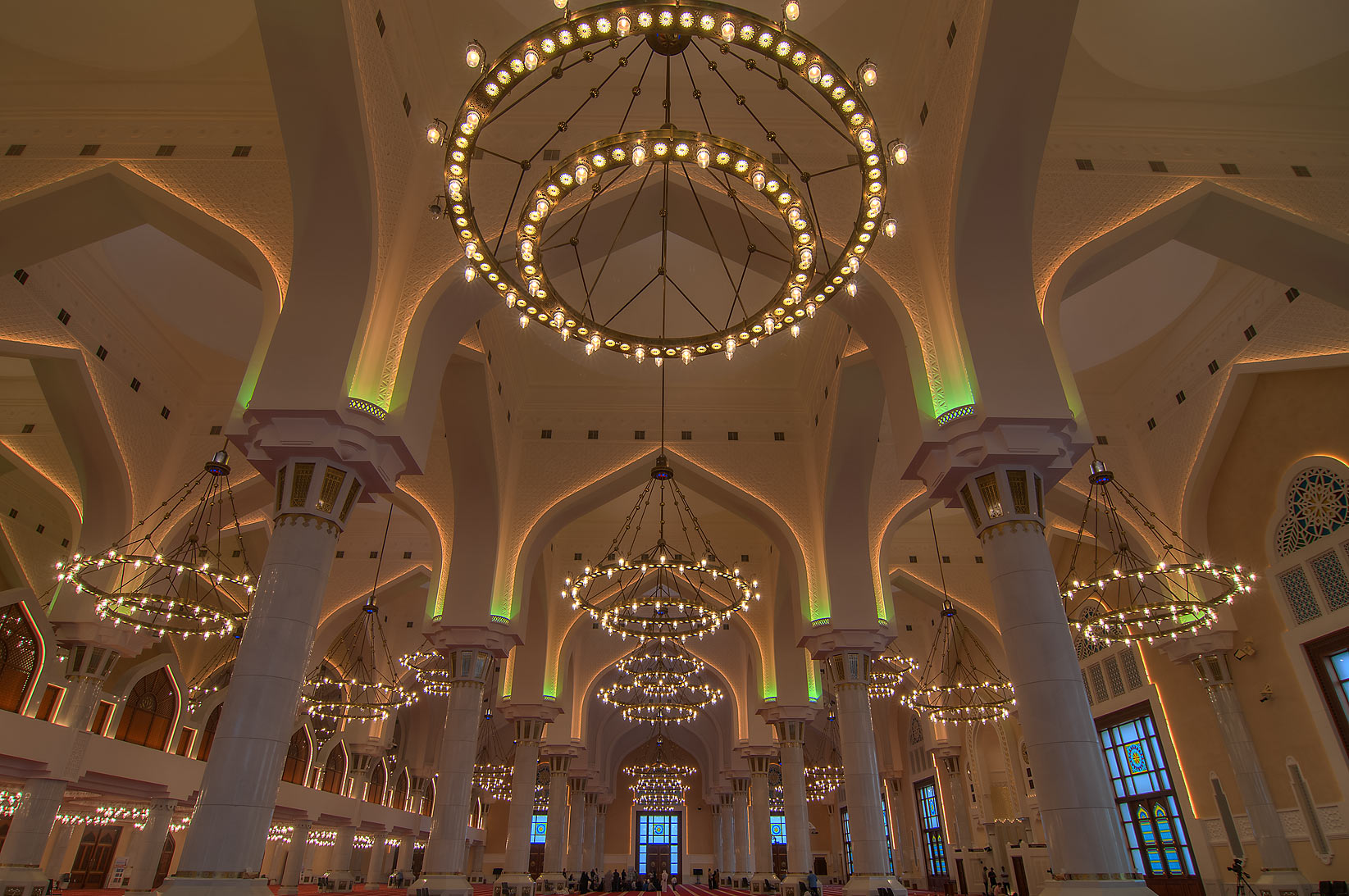 Domed ceiling inside State Mosque (Sheikh Muhammad Ibn Abdul Wahhab Mosque). Doha, Qatar