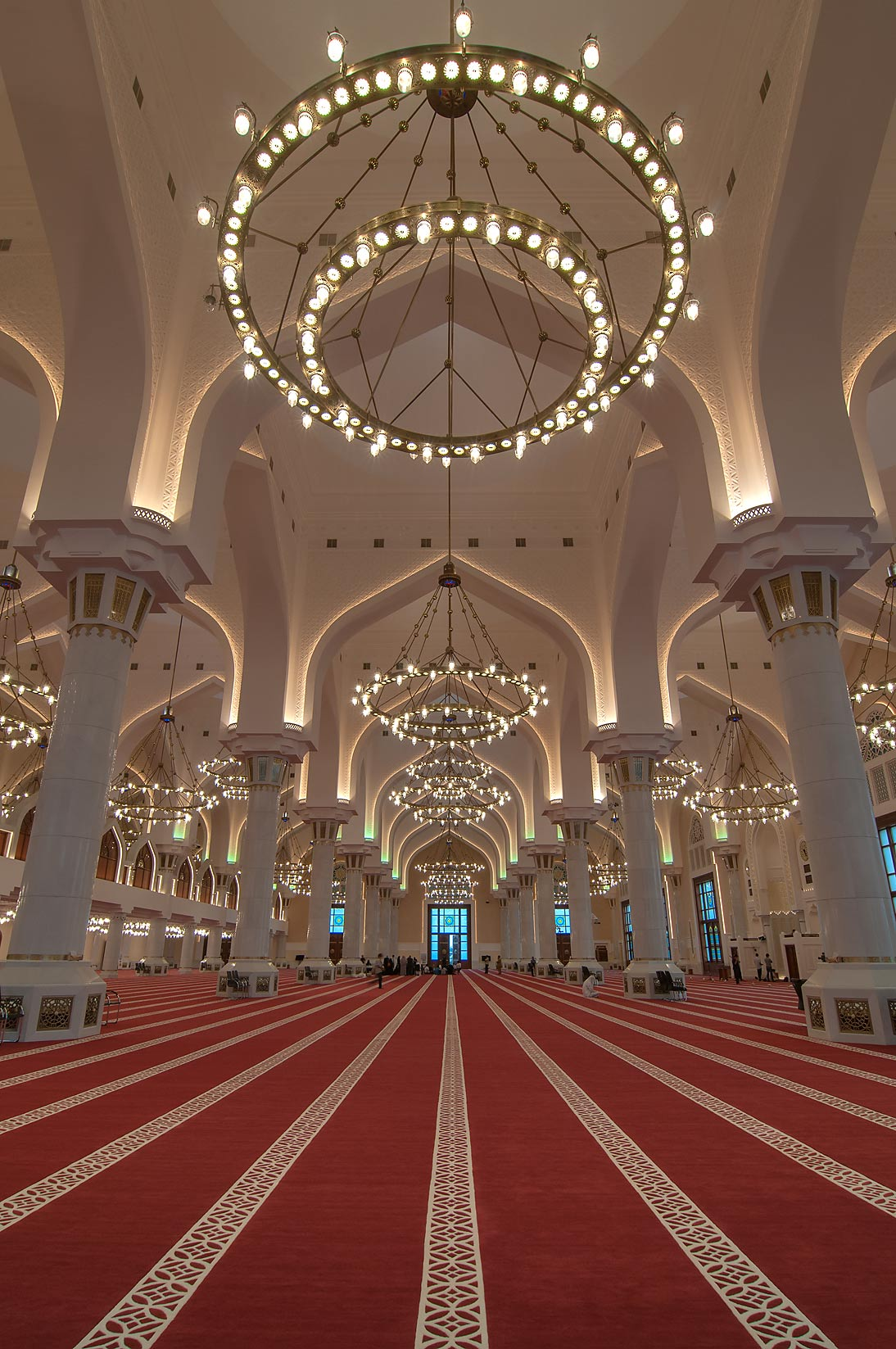 Carpet and chandelier of prayer hall (musallah...Ibn Abdul Wahhab Mosque). Doha, Qatar