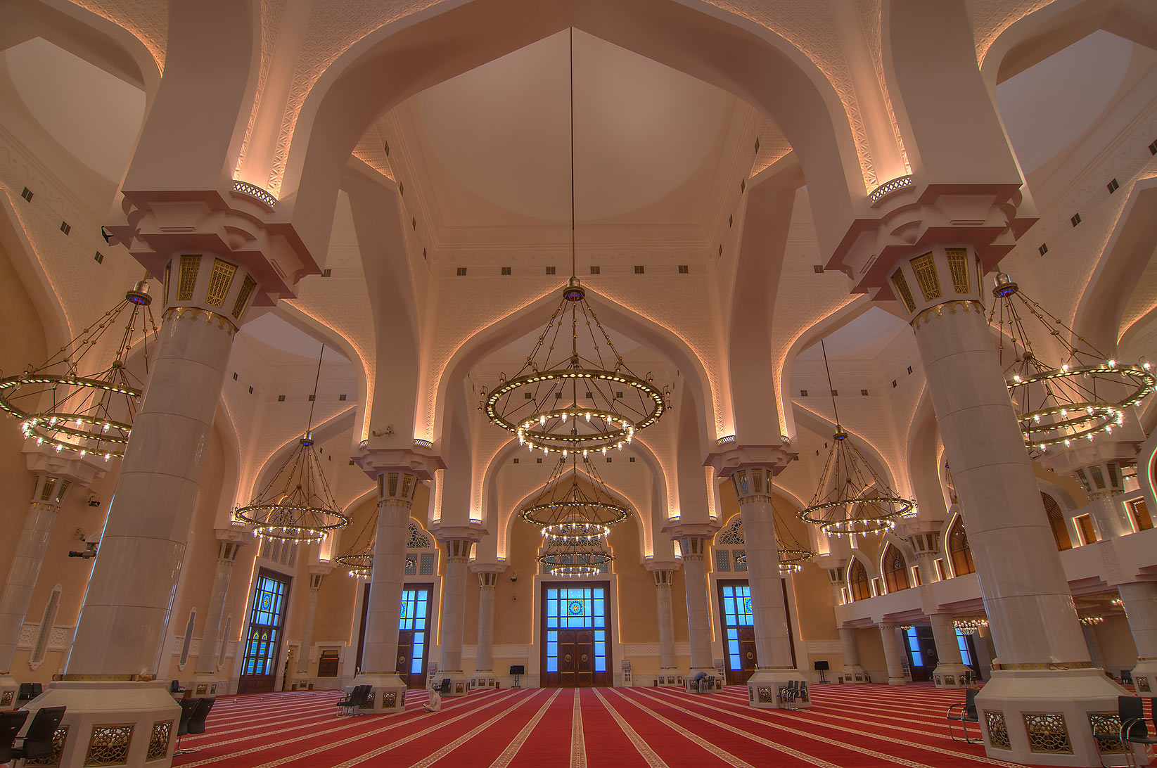 Multitude of columns in prayer hall (musallah) in...Ibn Abdul Wahhab Mosque). Doha, Qatar