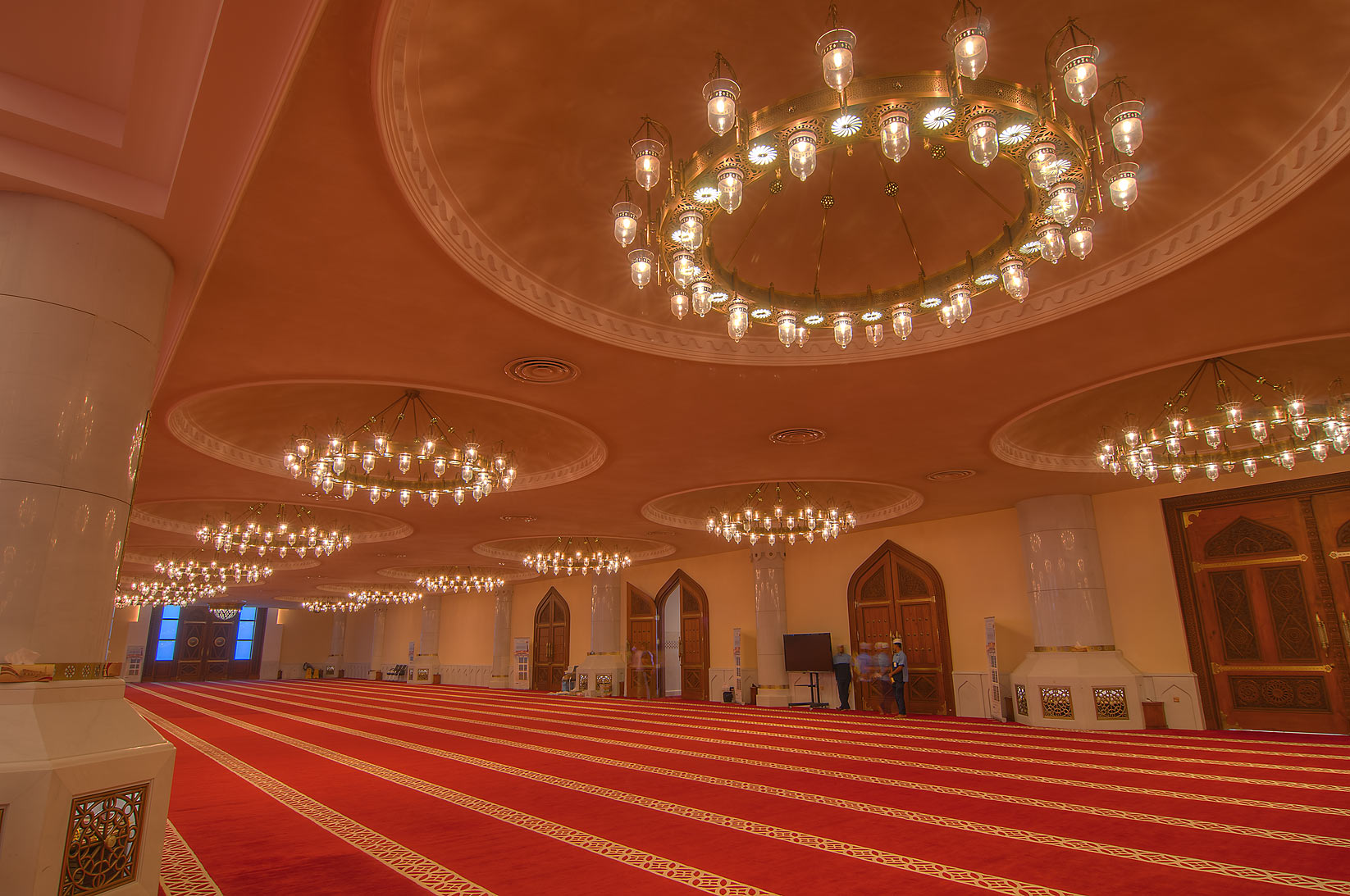 Entrance space in prayer hall (musallah) in State...Ibn Abdul Wahhab Mosque). Doha, Qatar