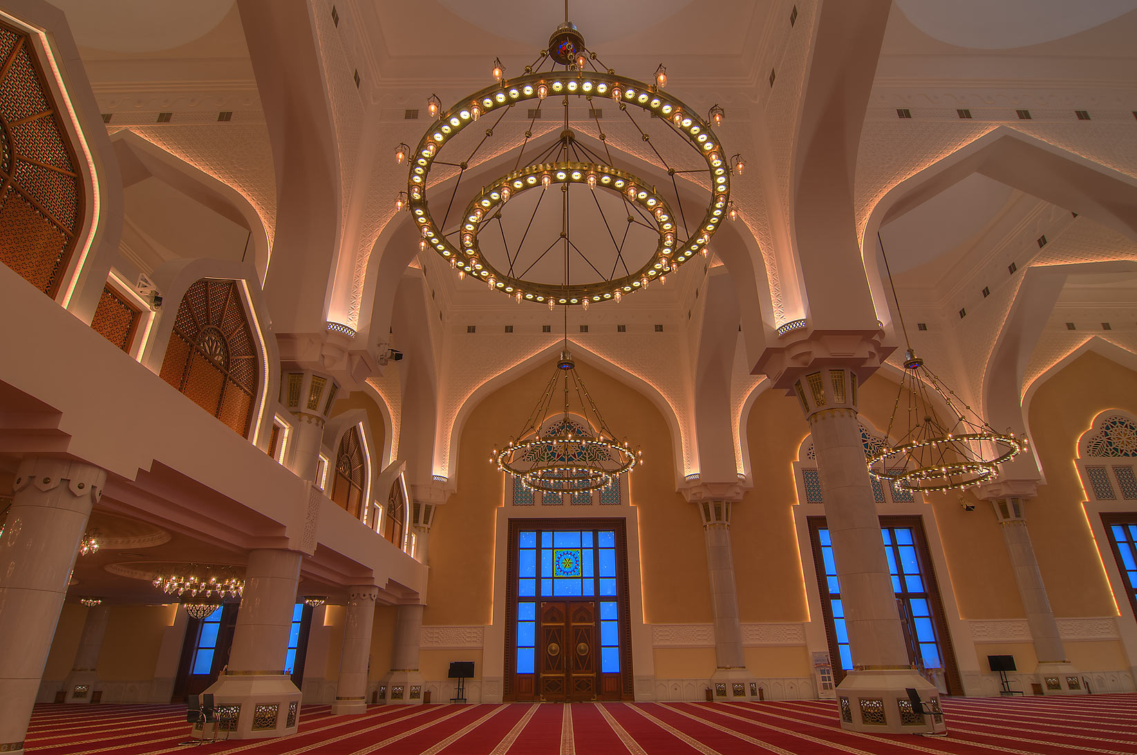 Evening light in prayer hall (musallah) in State...Ibn Abdul Wahhab Mosque). Doha, Qatar