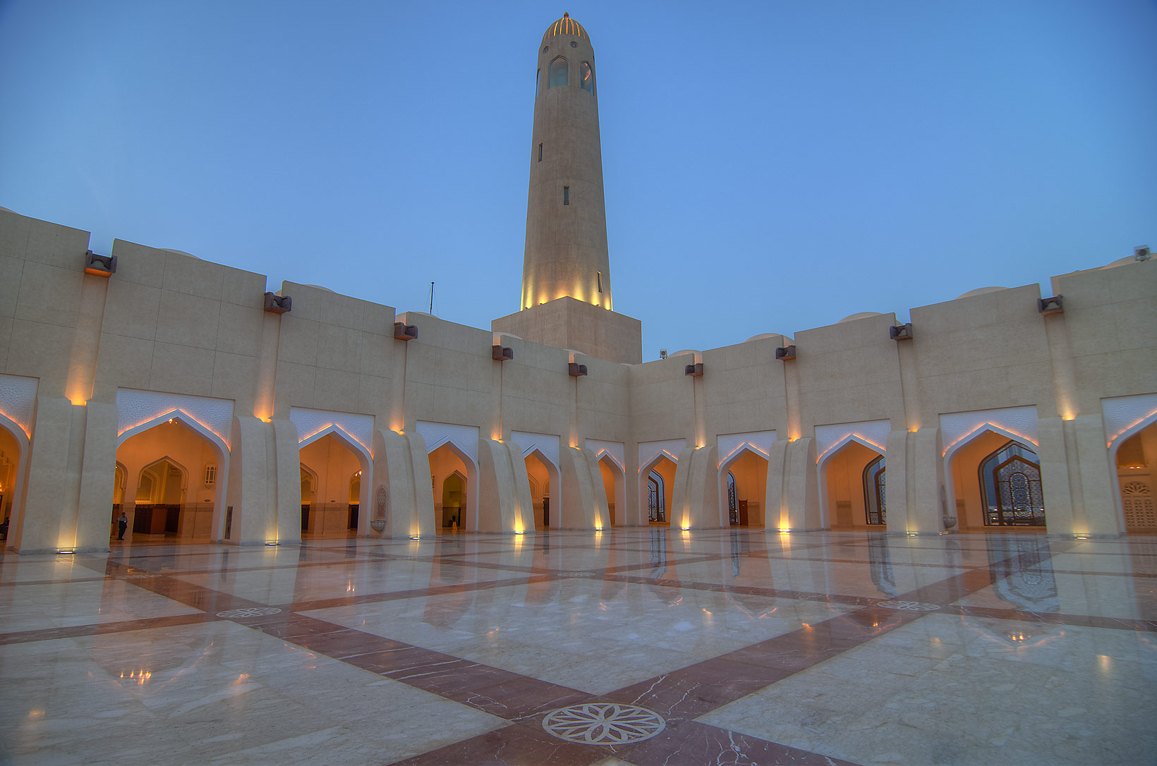Evening light in courtyard (sahn) of State Mosque...Ibn Abdul Wahhab Mosque). Doha, Qatar