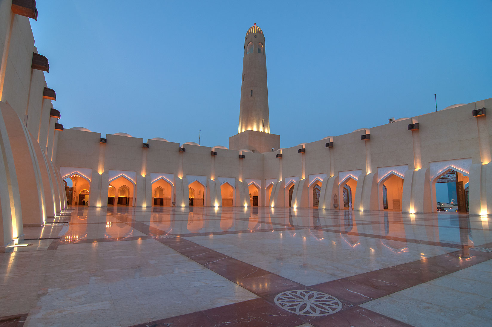 Evening light in large courtyard (sahn...Ibn Abdul Wahhab Mosque). Doha, Qatar