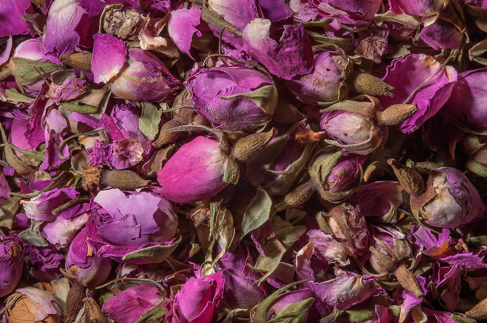 Dry rose buds and petals in Souq Waqif (Old Market). Doha, Qatar