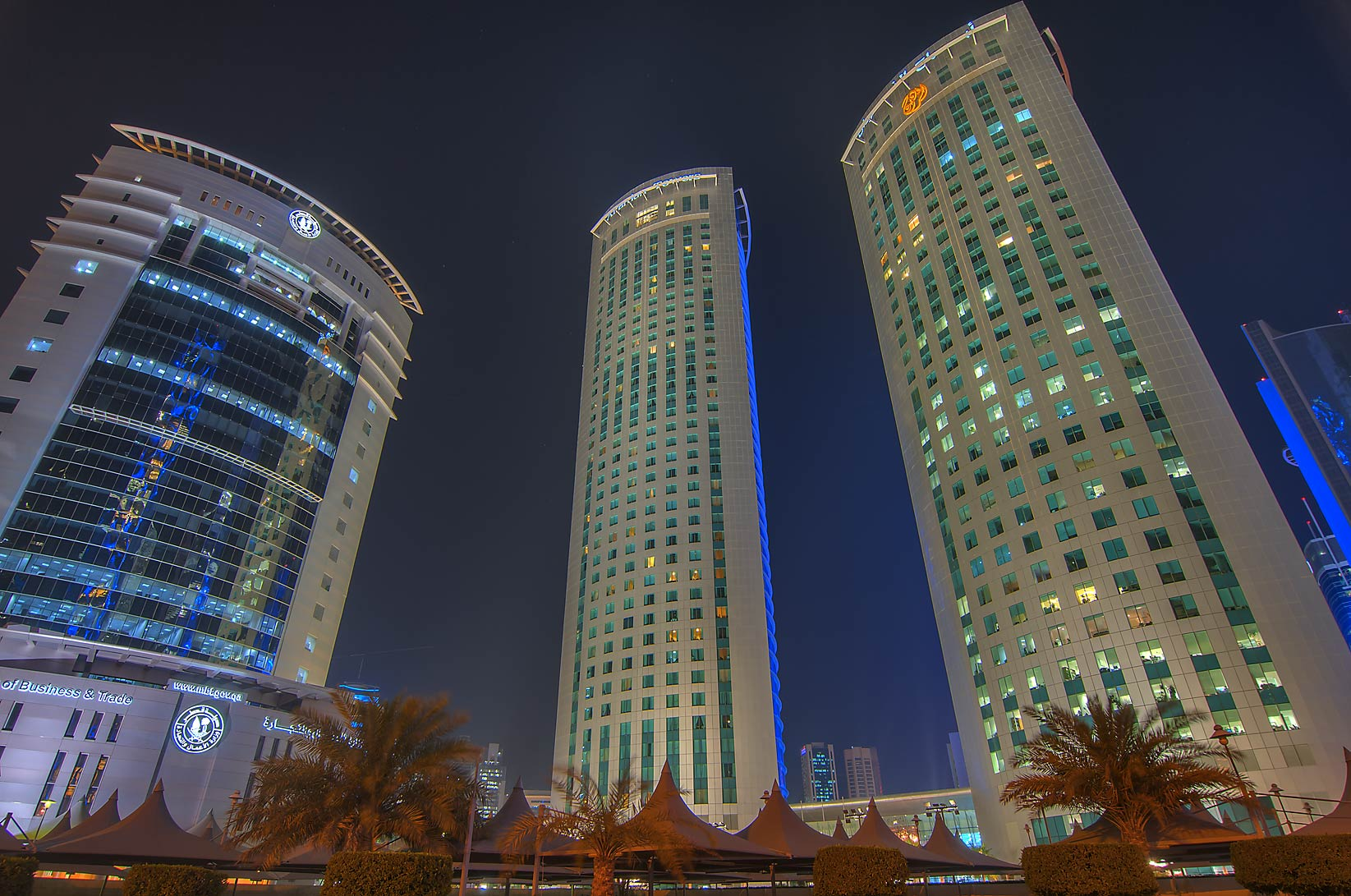 Ministry of Trade and Al Fardan Towers in West Bay at evening. Doha, Qatar