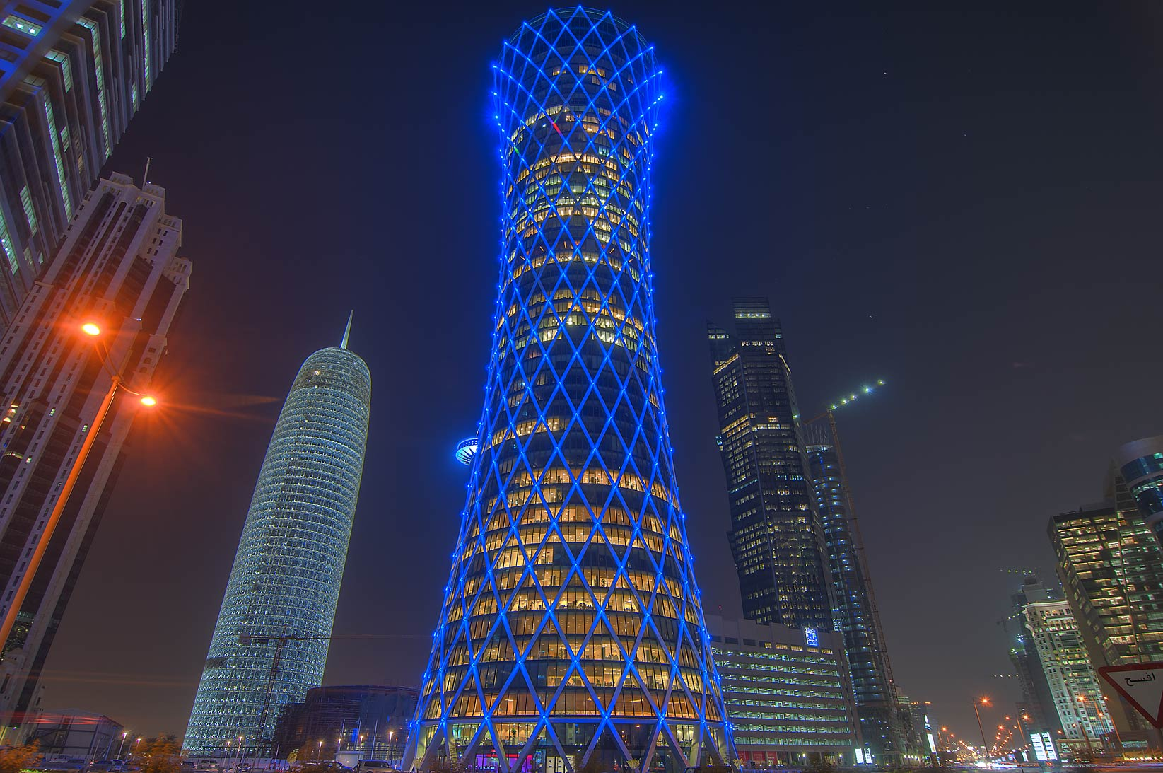 Tornado Tower in West Bay at evening. Doha, Qatar
