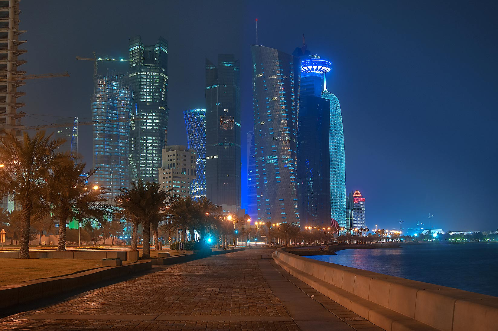 Corniche promenade near West Bay. Doha, Qatar