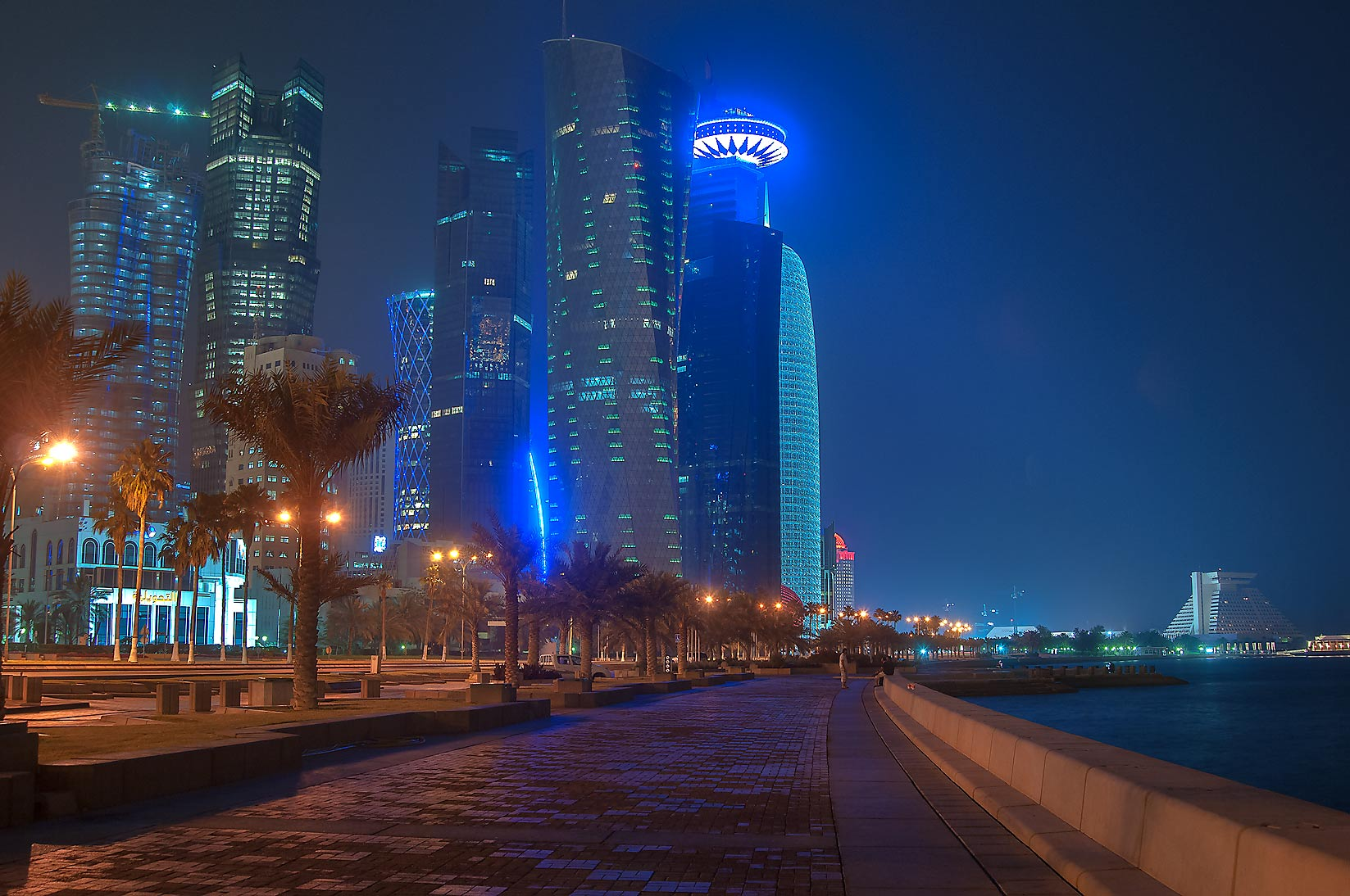 Corniche promenade near West Bay area at morning. Doha, Qatar