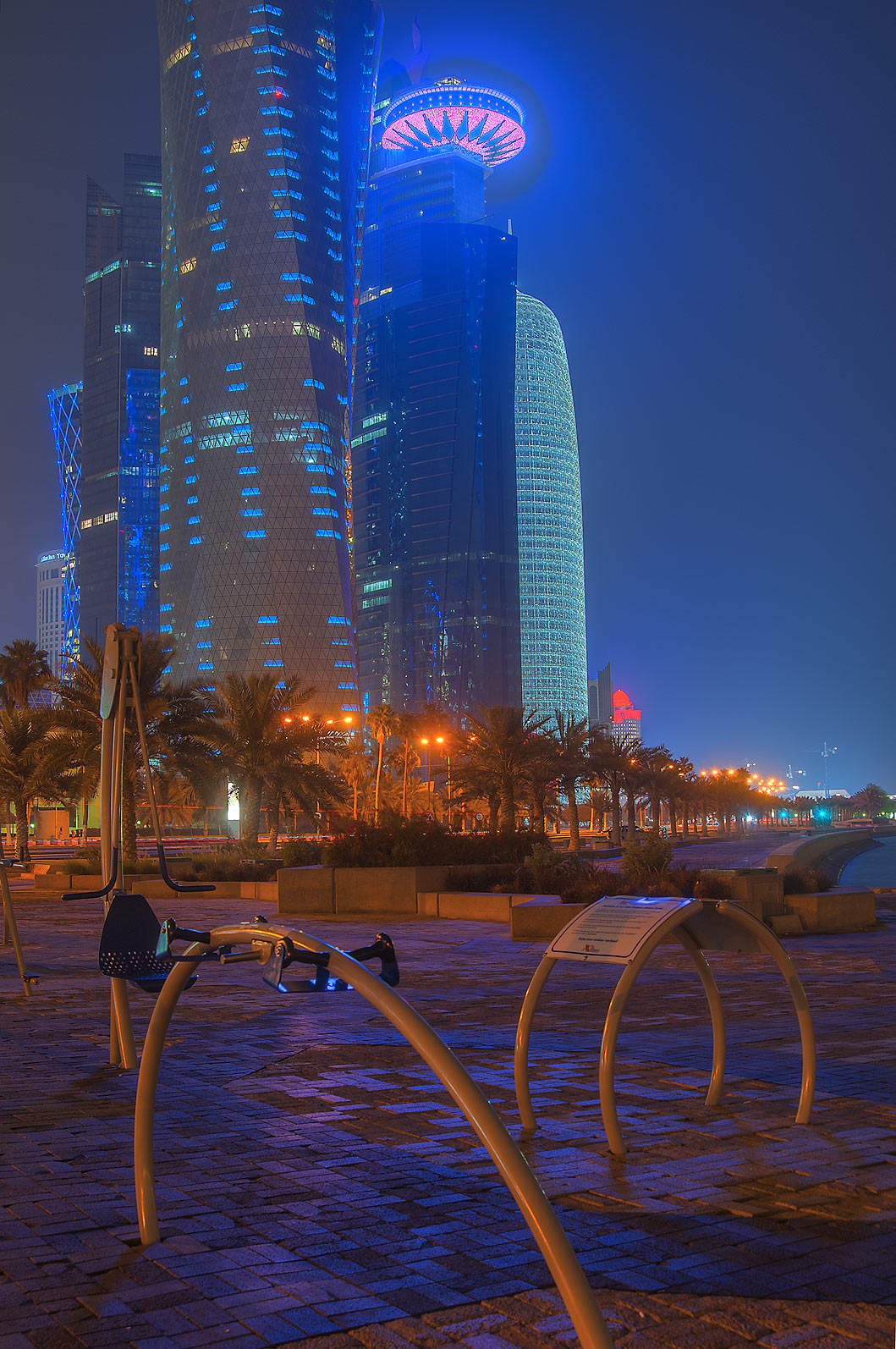 Playground at Corniche promenade near West Bay area at morning. Doha, Qatar