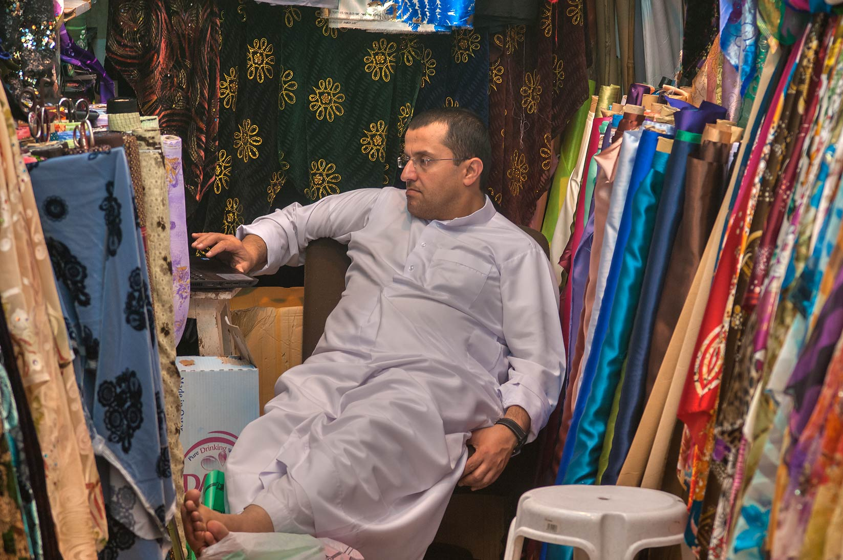Fabric shop in Souq Waqif (Old Market). Doha, Qatar