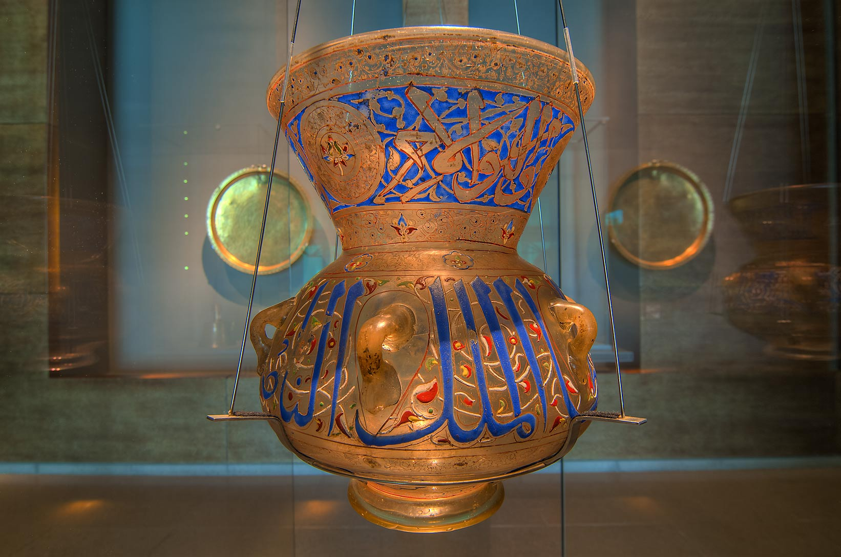 Egyptian mosque lamp in Museum of Islamic Art. Doha, Qatar