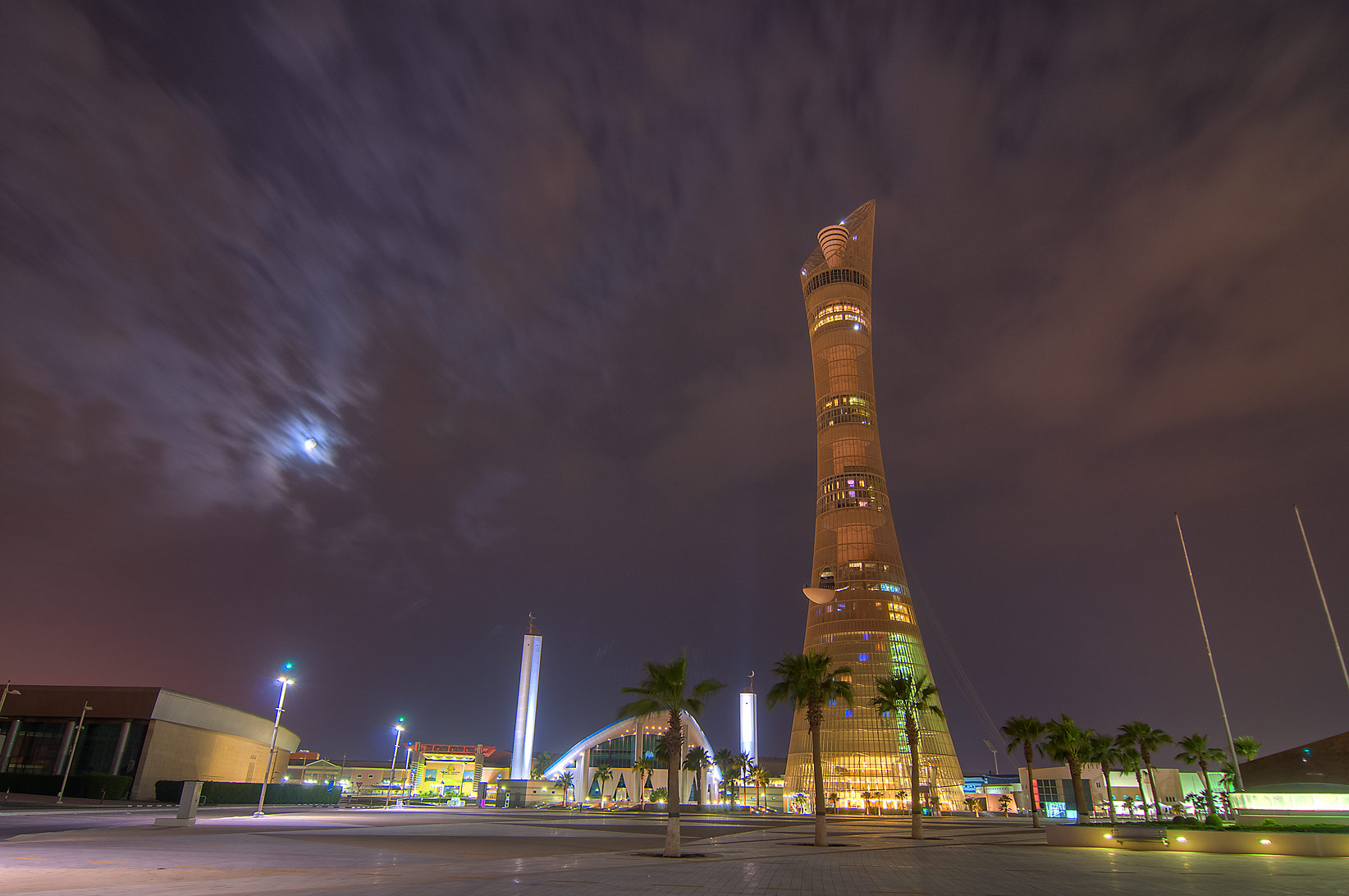 Torch Hotel and a mosque in Aspire Zone. Doha, Qatar