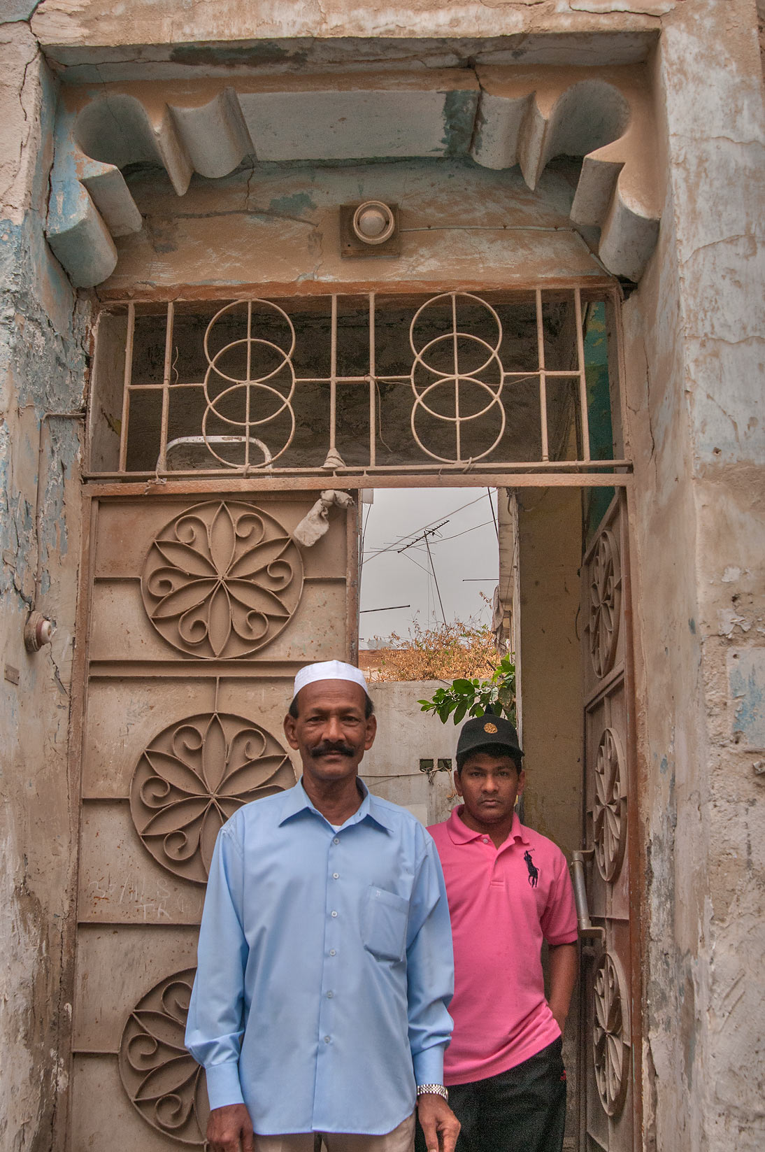 Traditional doorway at Al Jassasiya St., Musheirib area. Doha, Qatar
