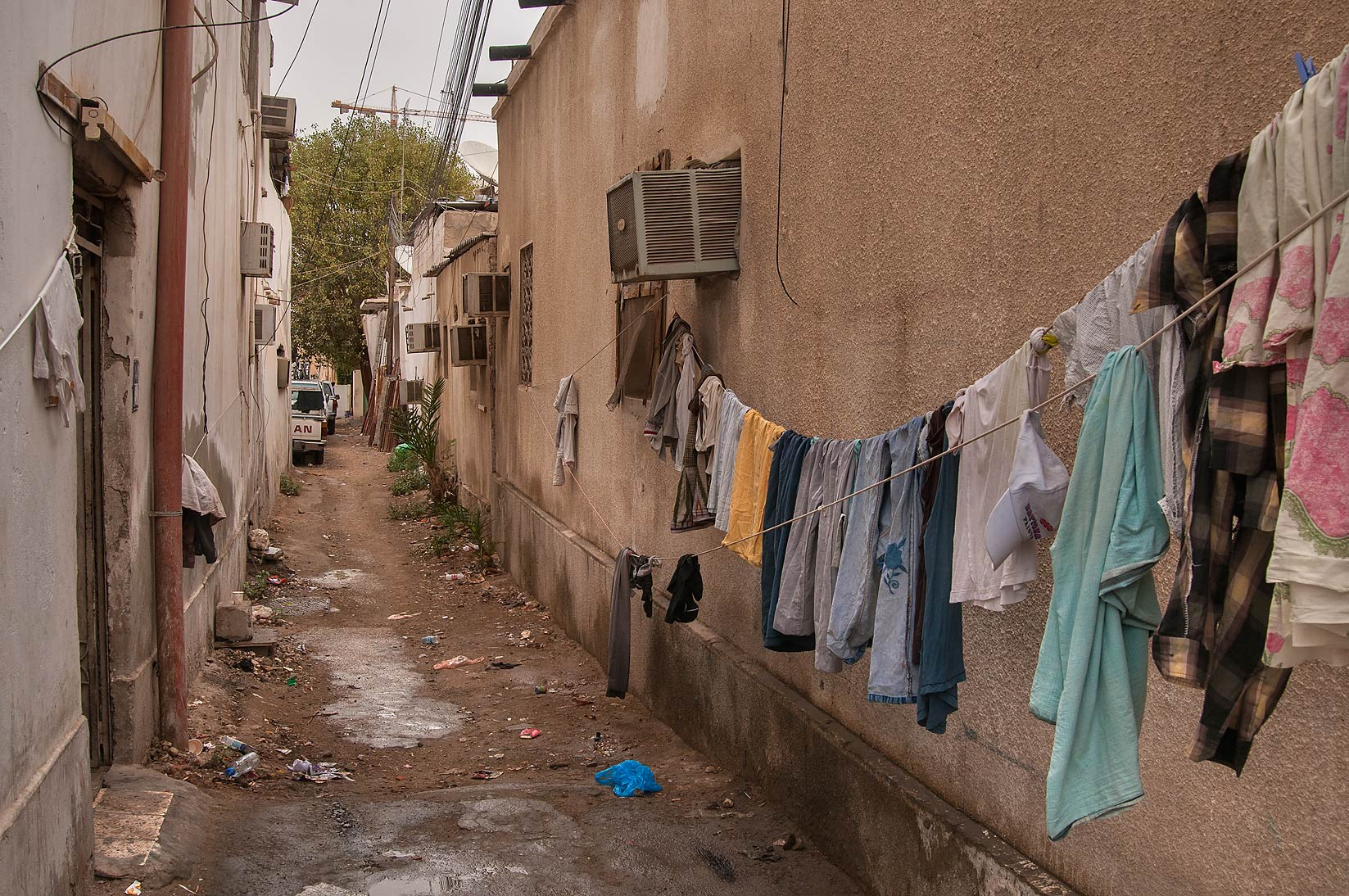 Laundry drying at rain in sikka near Umm Wishah St., Musheirib area. Doha, Qatar