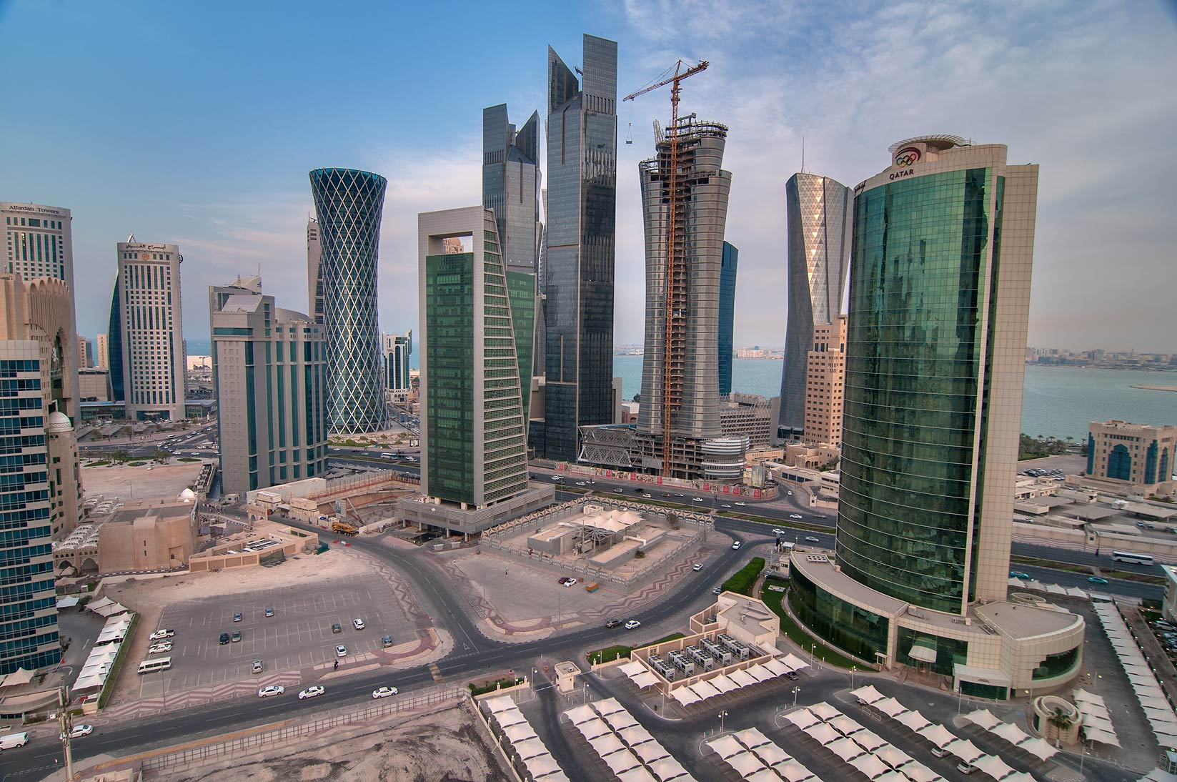 West Bay from a balcony of Apartment 17-A04 of Dareen Tower. Doha, Qatar