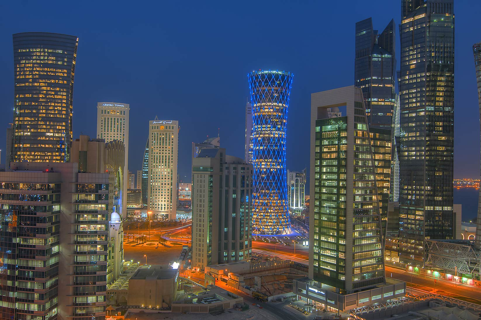 West Bay Towers to the east, view from a balcony...Dareen Tower at evening. Doha, Qatar