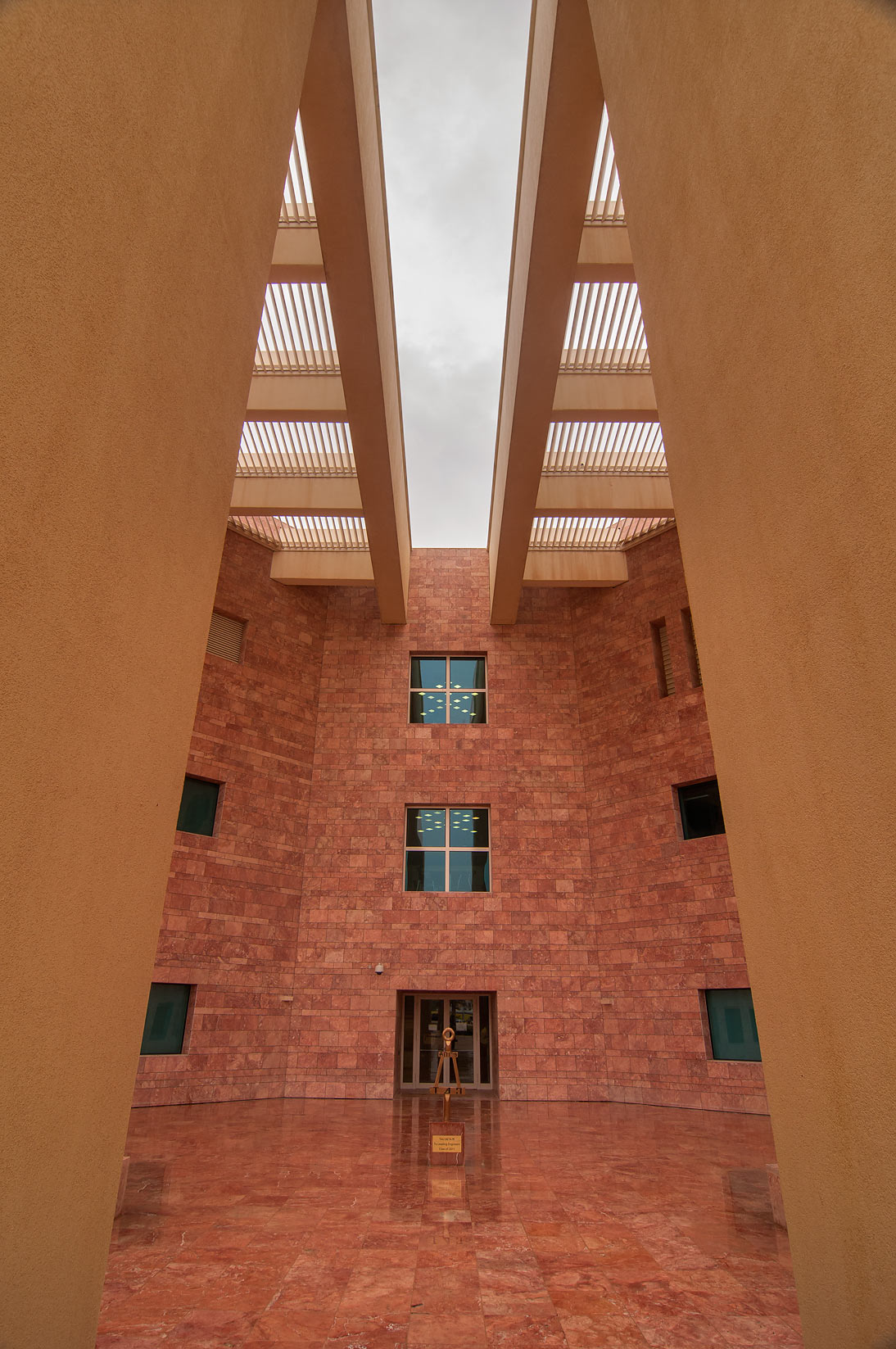 Shading structure of entrance of research rotunda...in Education City at rain. Doha, Qatar