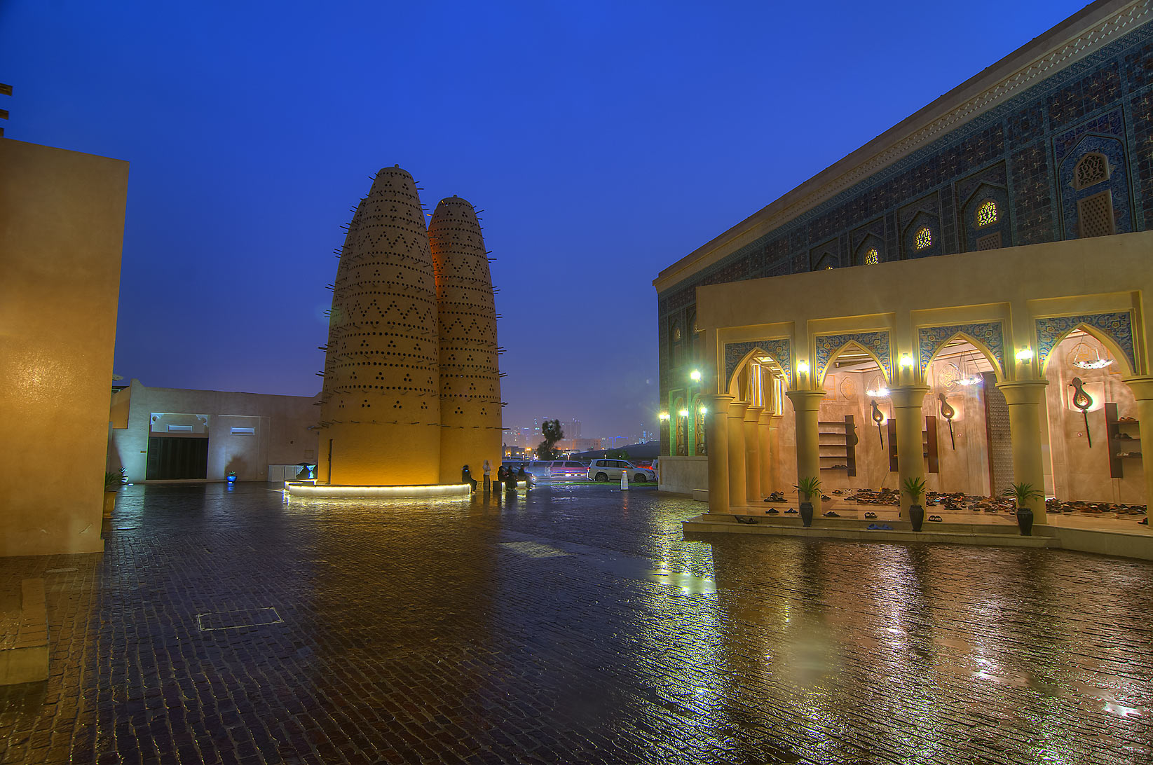 Iranian style mosque in Katara Cultural Village at rain. Doha, Qatar