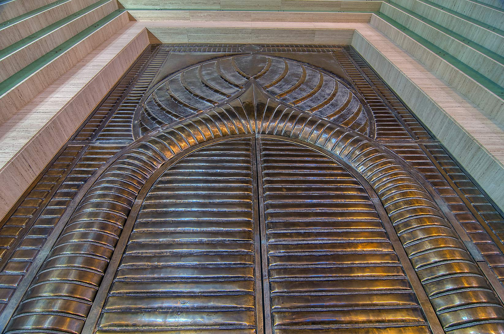 Metal door of amphitheatre in Katara Cultural Village at rain. Doha, Qatar