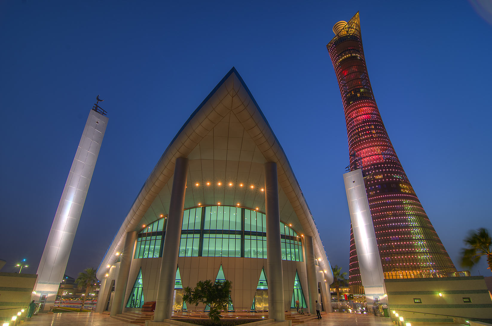Aspire Zone Mosque and Torch Tower at dusk. Doha, Qatar