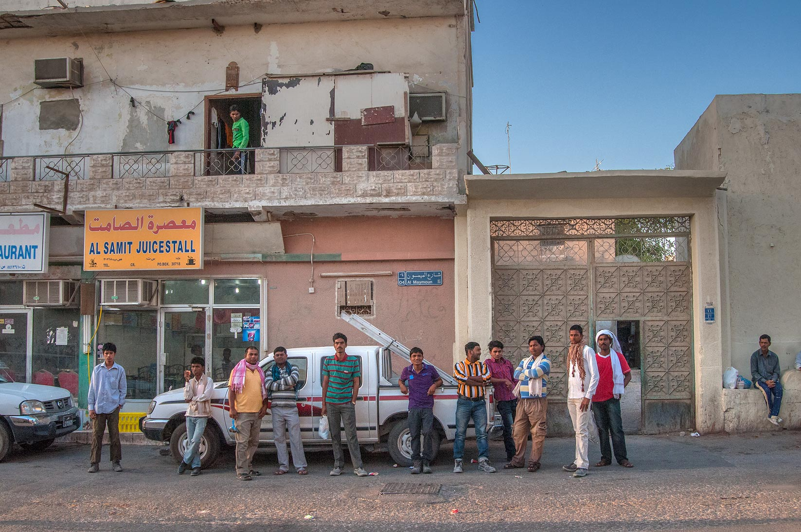 People gathering at morning near Al Samit...St., Musheirib area. Doha, Qatar