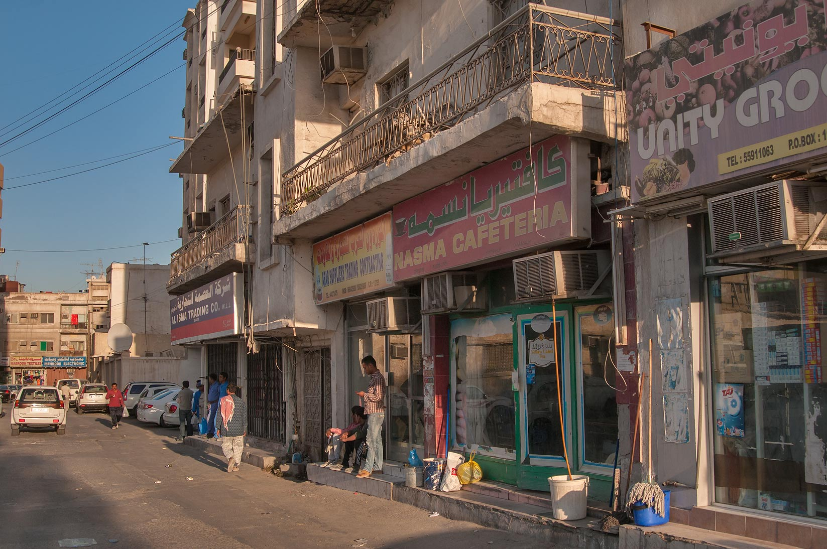 Convenience shops at Al Maymoun St., Musheirib area. Doha, Qatar