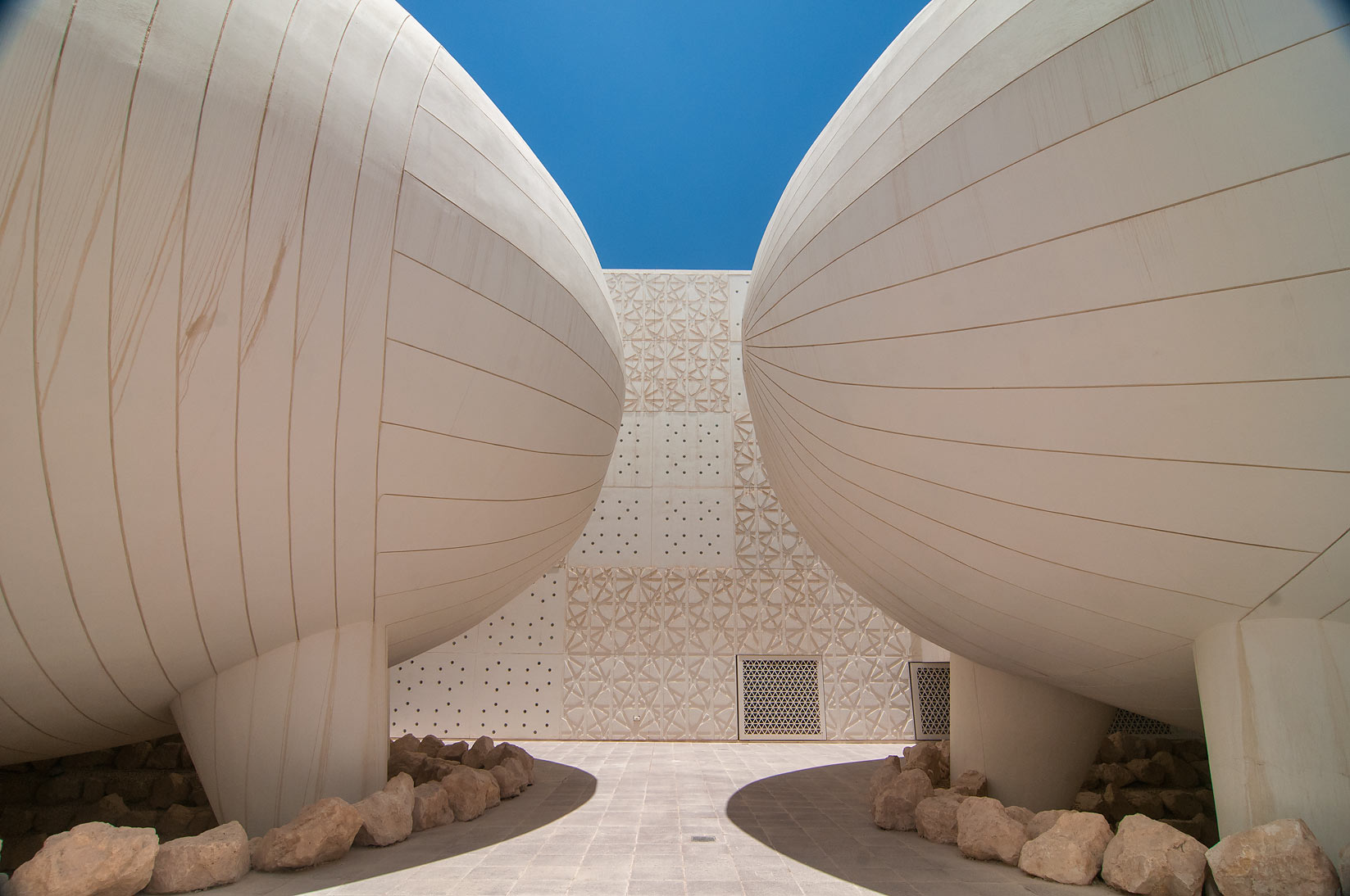 Ovoid lecture halls of Weill Cornell Medical College in Education City campus. Doha, Qatar