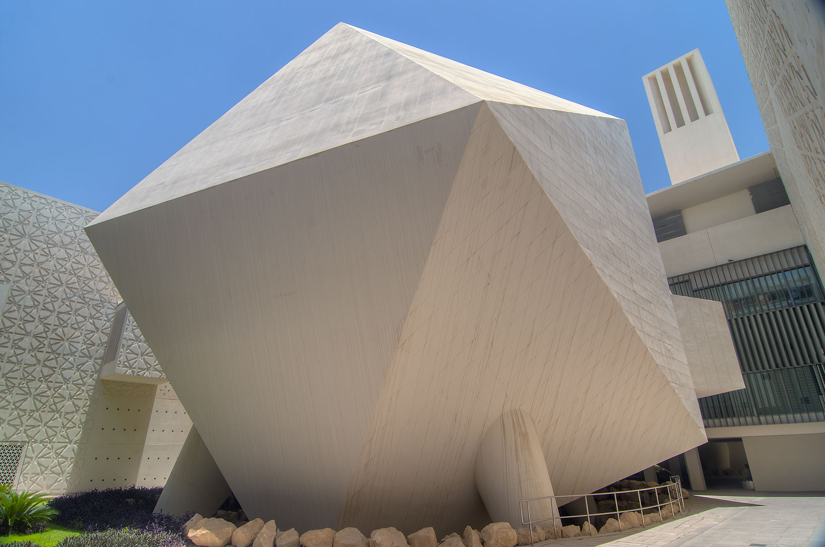 Courtyard with icosahedron lecture hall of Weill...in Education City campus. Doha, Qatar