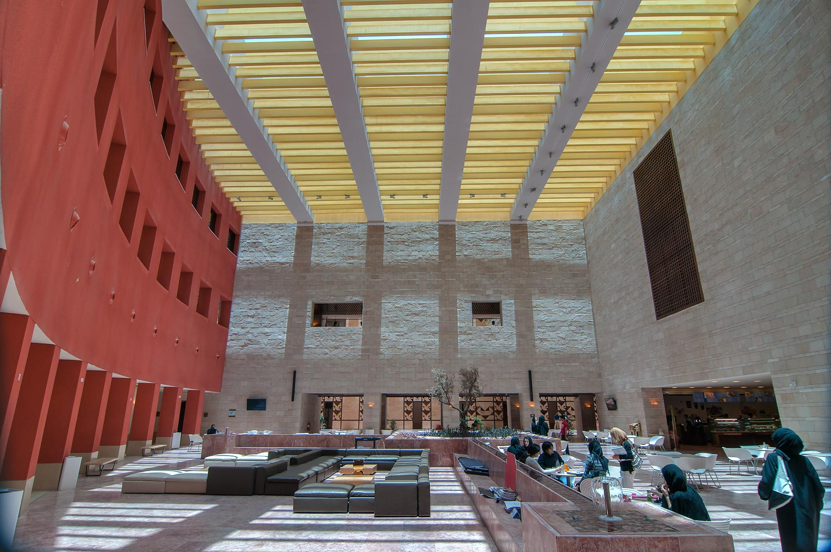 Dining Hall of Carnegie Mellon University in Education City campus. Doha, Qatar
