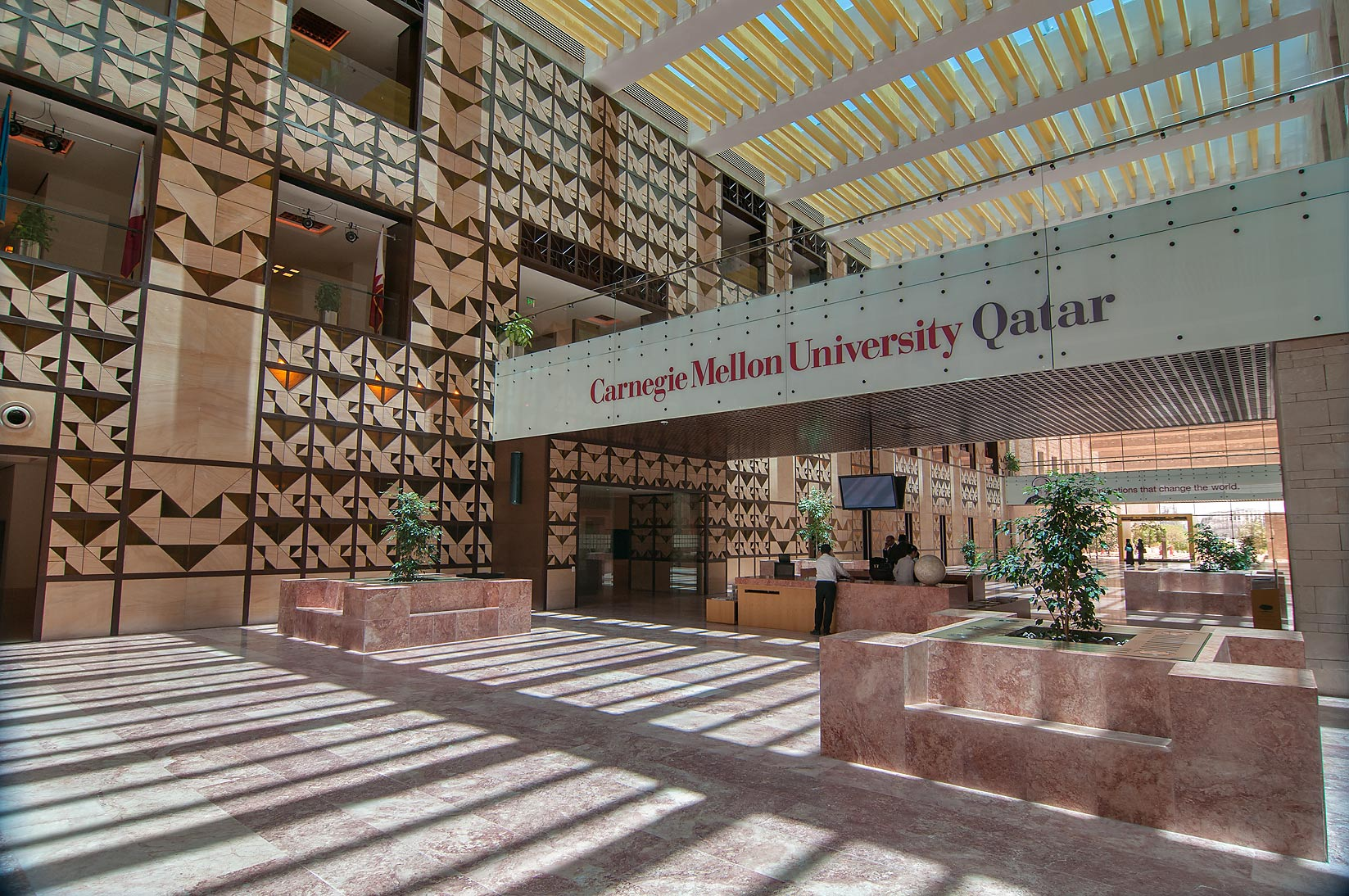 Ground floor of Carnegie Mellon University in Education City campus. Doha, Qatar