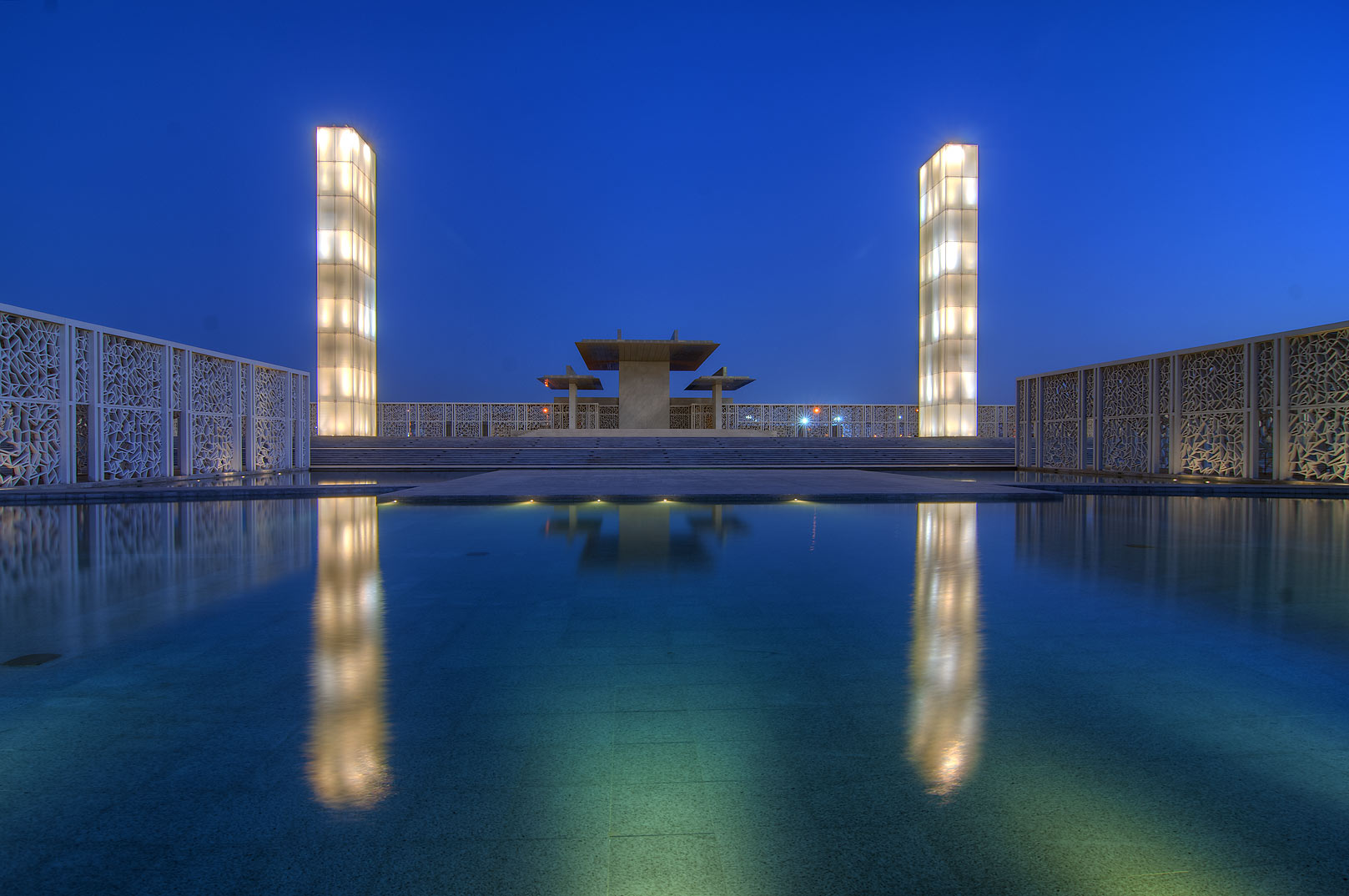 Pool of Ceremonial Court in Education City campus. Doha, Qatar