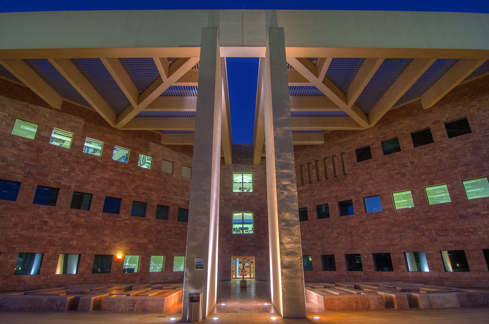 Shaded entrance of research rotunda of Texas A...in Education City campus. Doha, Qatar