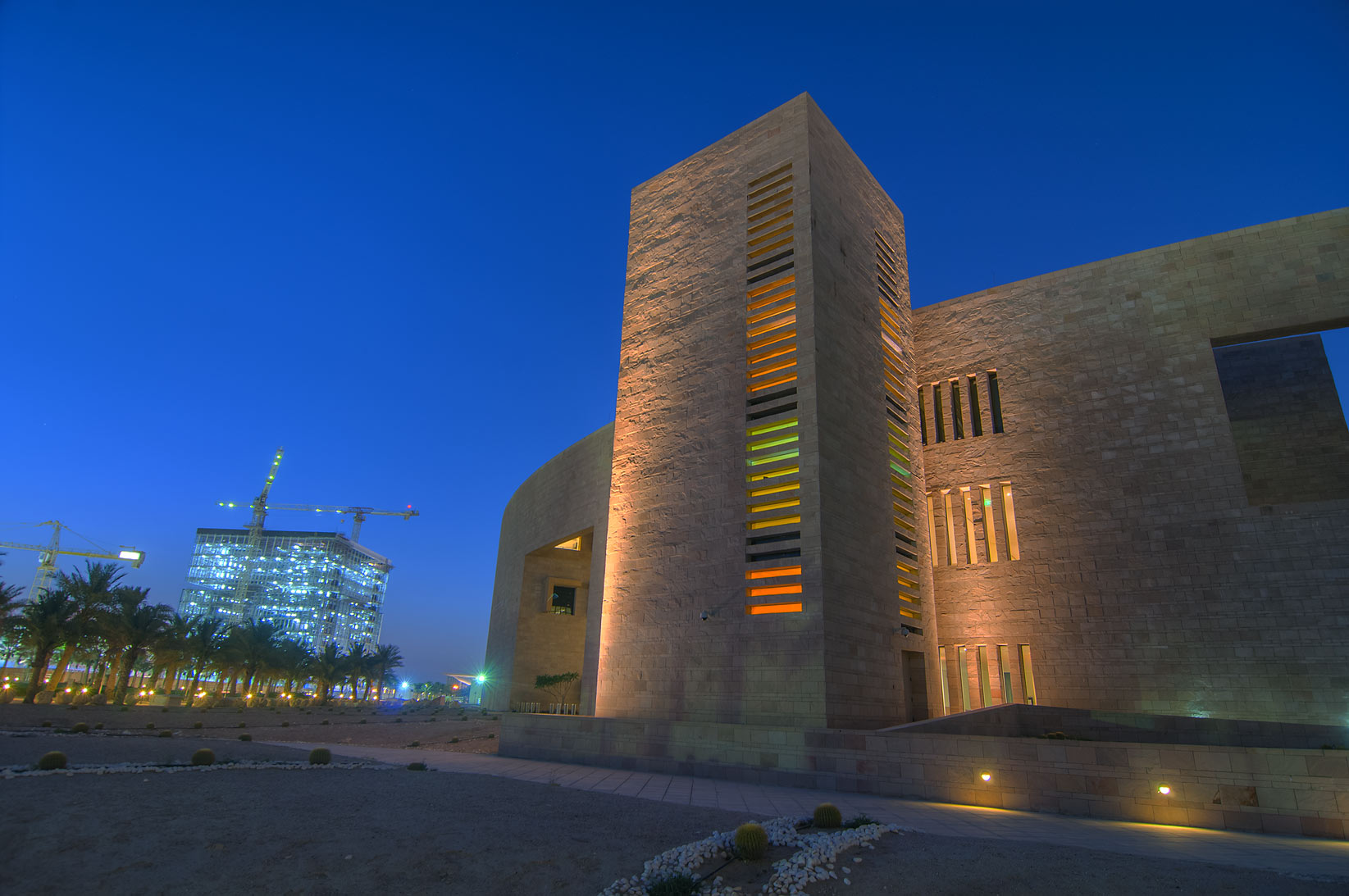 Walls of Carnegie Mellon University in Education City campus at evening. Doha, Qatar