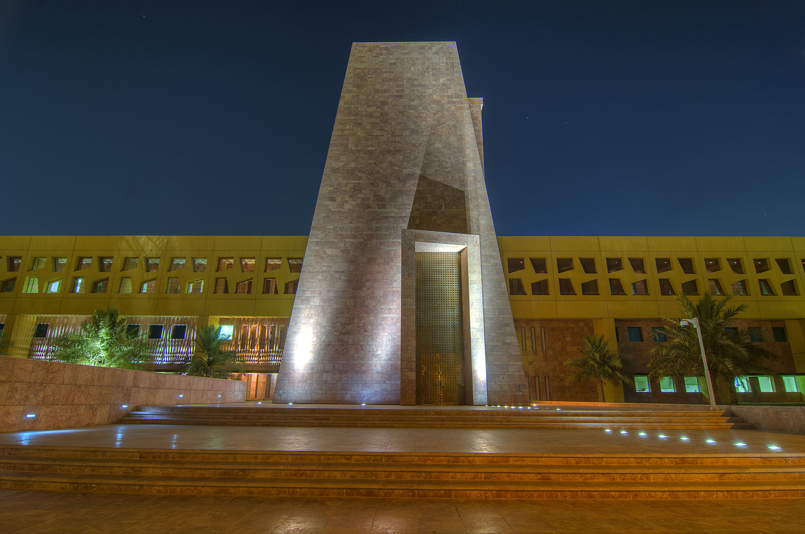 Main entrance of Texas A&M University in Education City campus. Doha, Qatar
