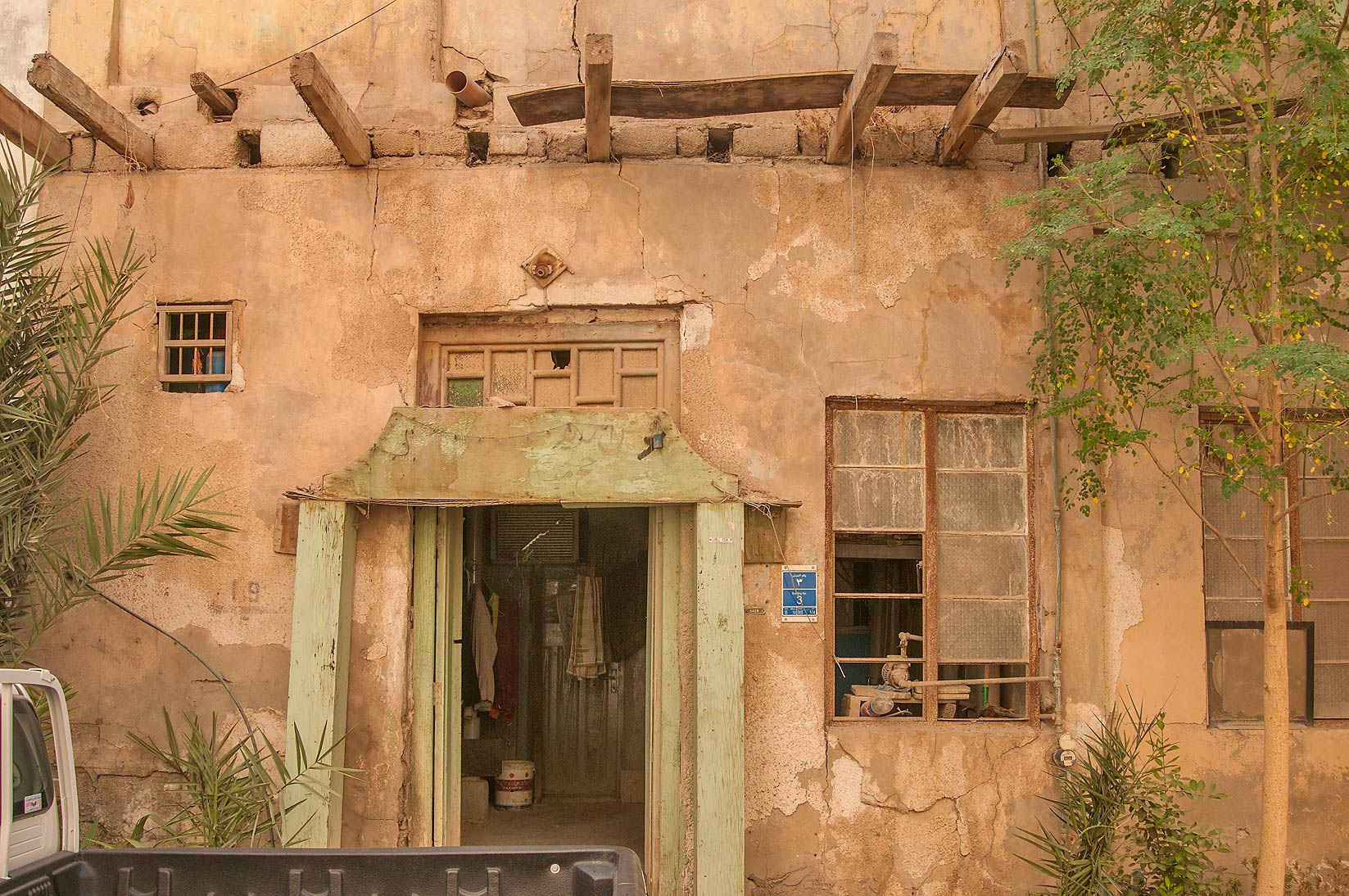 Gate of an old apartment at Hadramout St., Al Doha Al Jadeeda area. Doha, Qatar