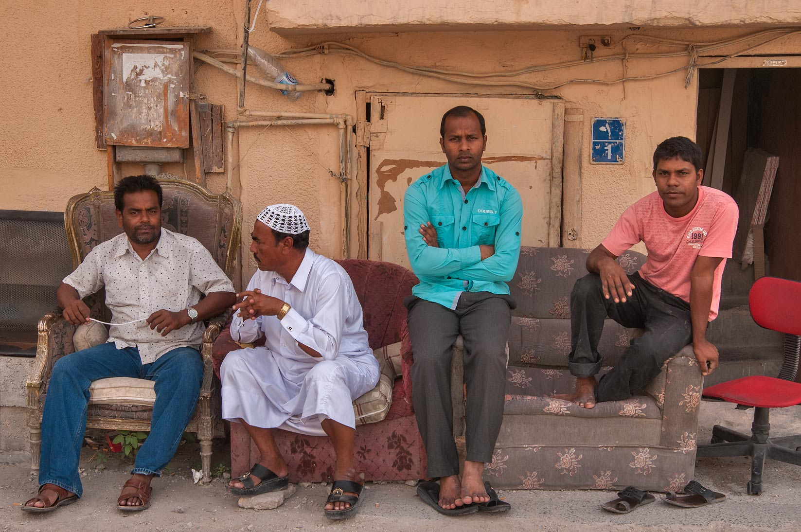 People meeting at Al Najada St., Musheirib area. Doha, Qatar