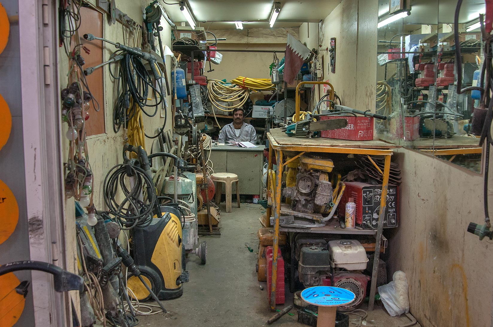 Mechanical and electric shop at Al Najada St., Musheirib area. Doha, Qatar