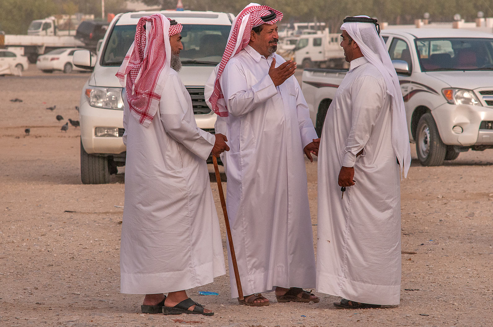 Shoppers greeting themselves in Camel Market, Abu Hamour area. Doha, Qatar