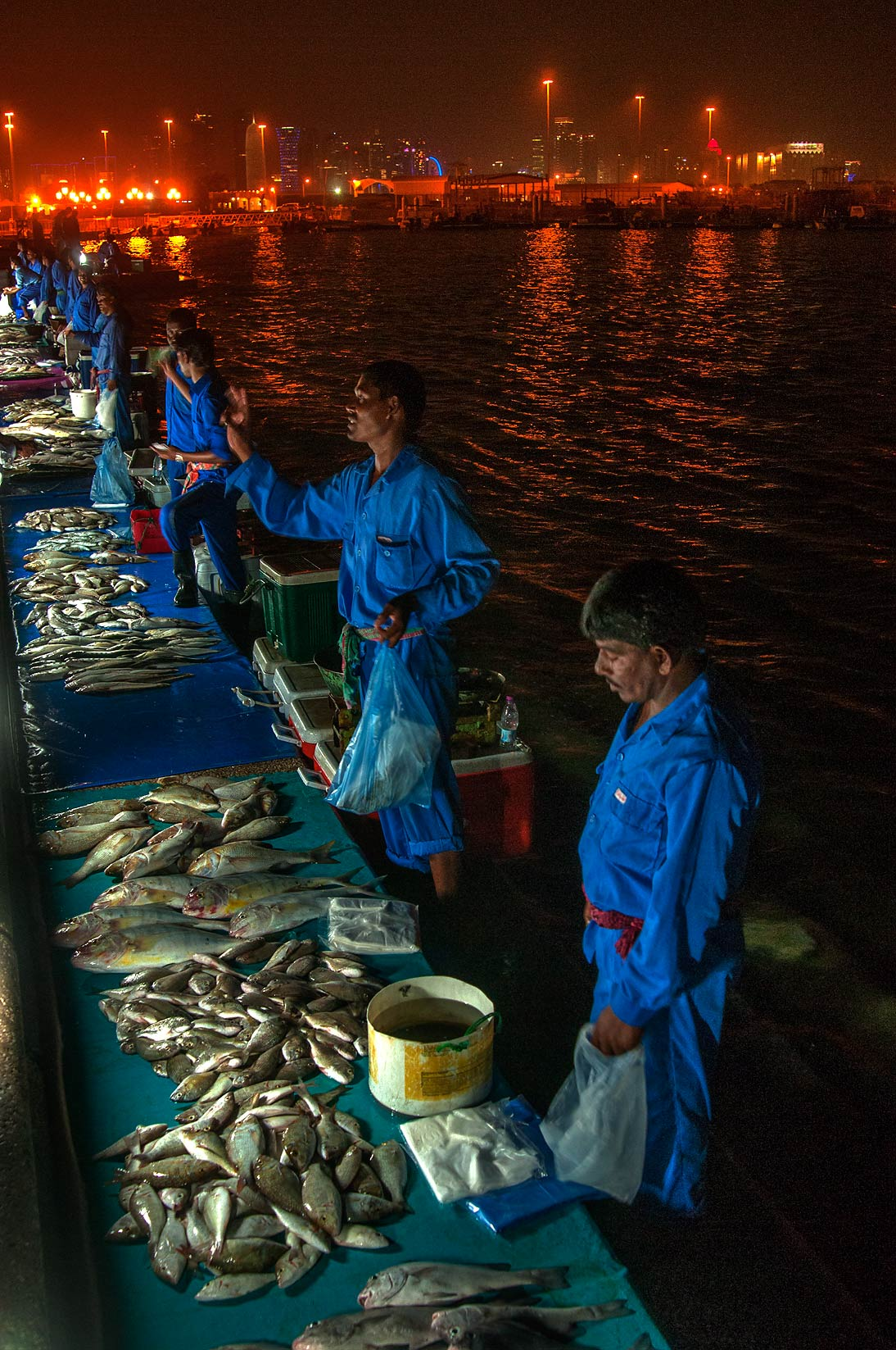 Evening fish market on Corniche (Fresh Fish Sold). Doha, Qatar