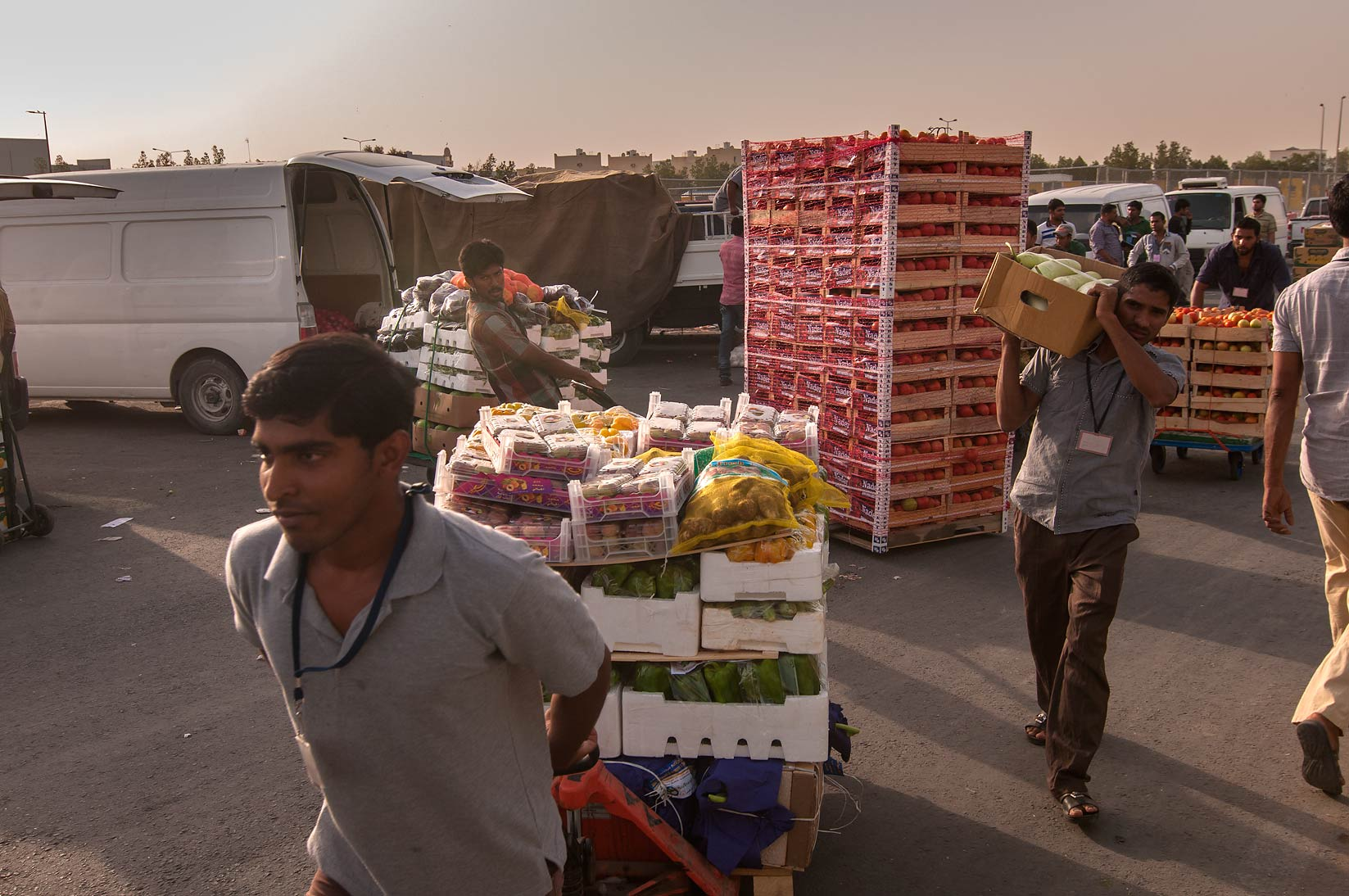 Carrying boxes from Wholesale Vegetable Market in Abu Hamour. Doha, Qatar