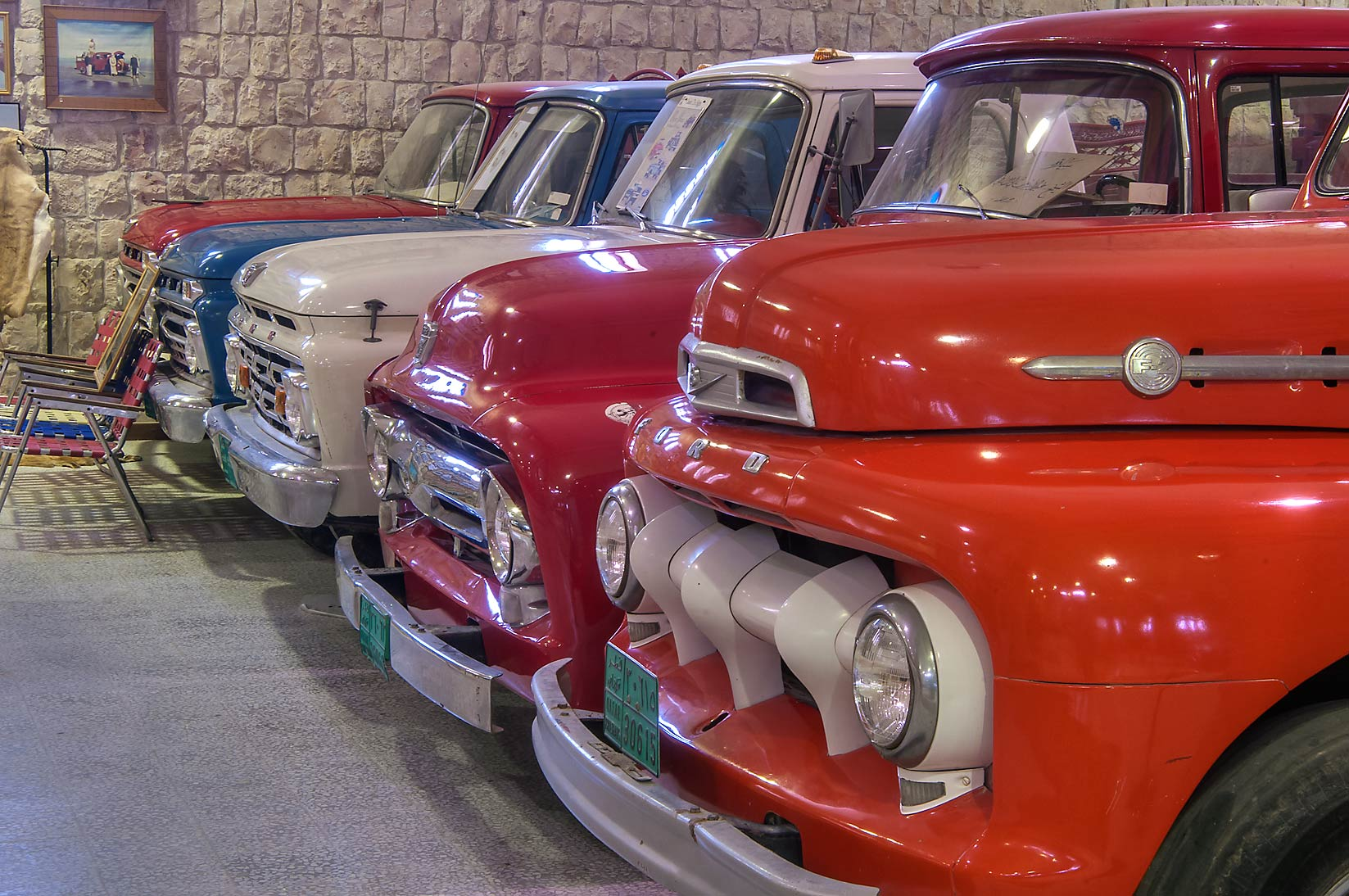 Vintage multicolored Ford cars in Sheikh Faisal...Museum near Al-Shahaniya. Doha, Qatar