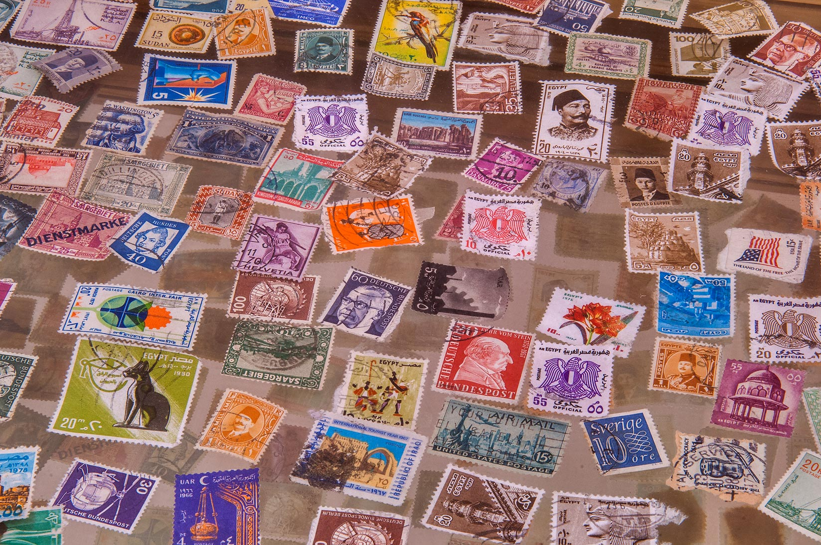 Collection of postal stamps in Sheikh Faisal Bin...Museum near Al-Shahaniya. Doha, Qatar