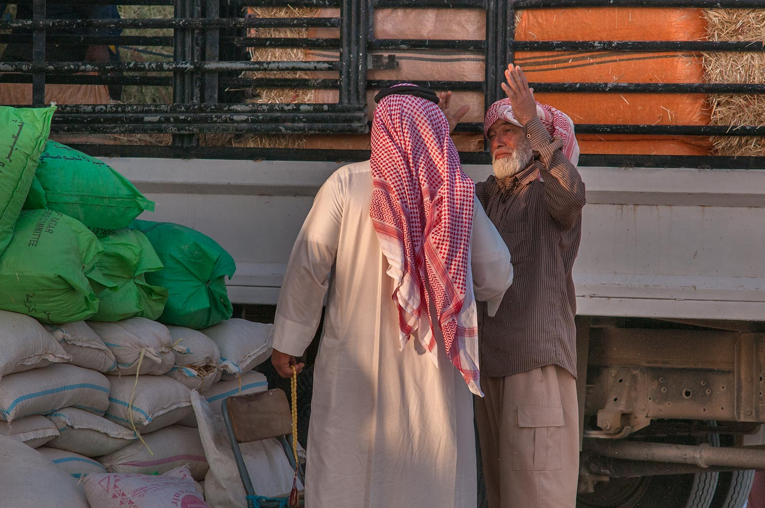 Selling fodder in Livestock Markets area in Abu Hamour. Doha, Qatar