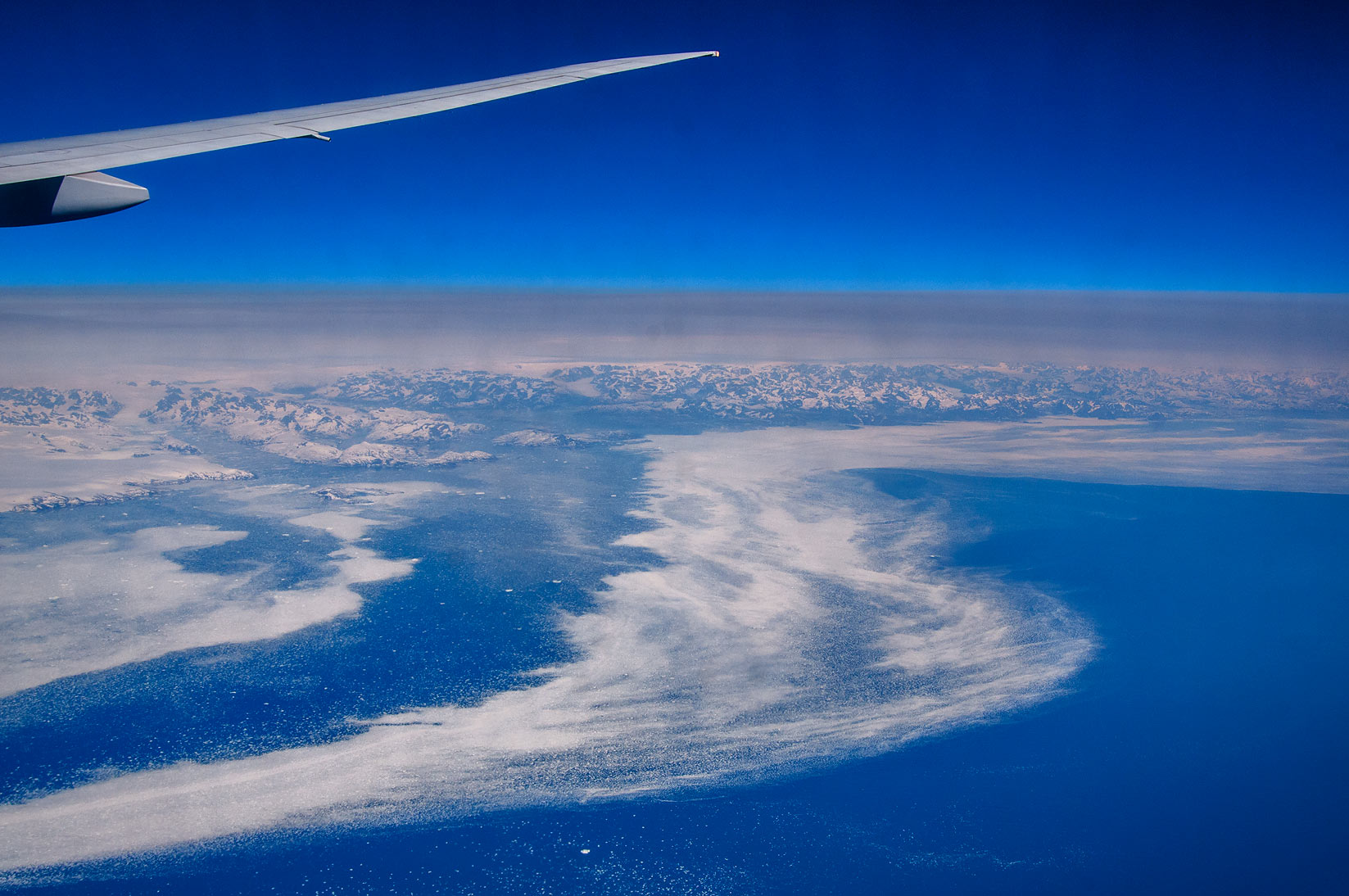 Approaching south-east coast of Greenland near...Frankfurt, Germany to Toronto, Canada