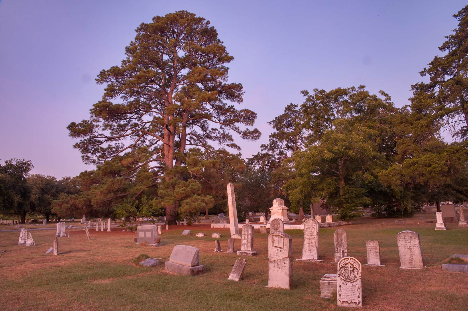 Bryan City Cemetery at morning. Bryan, Texas