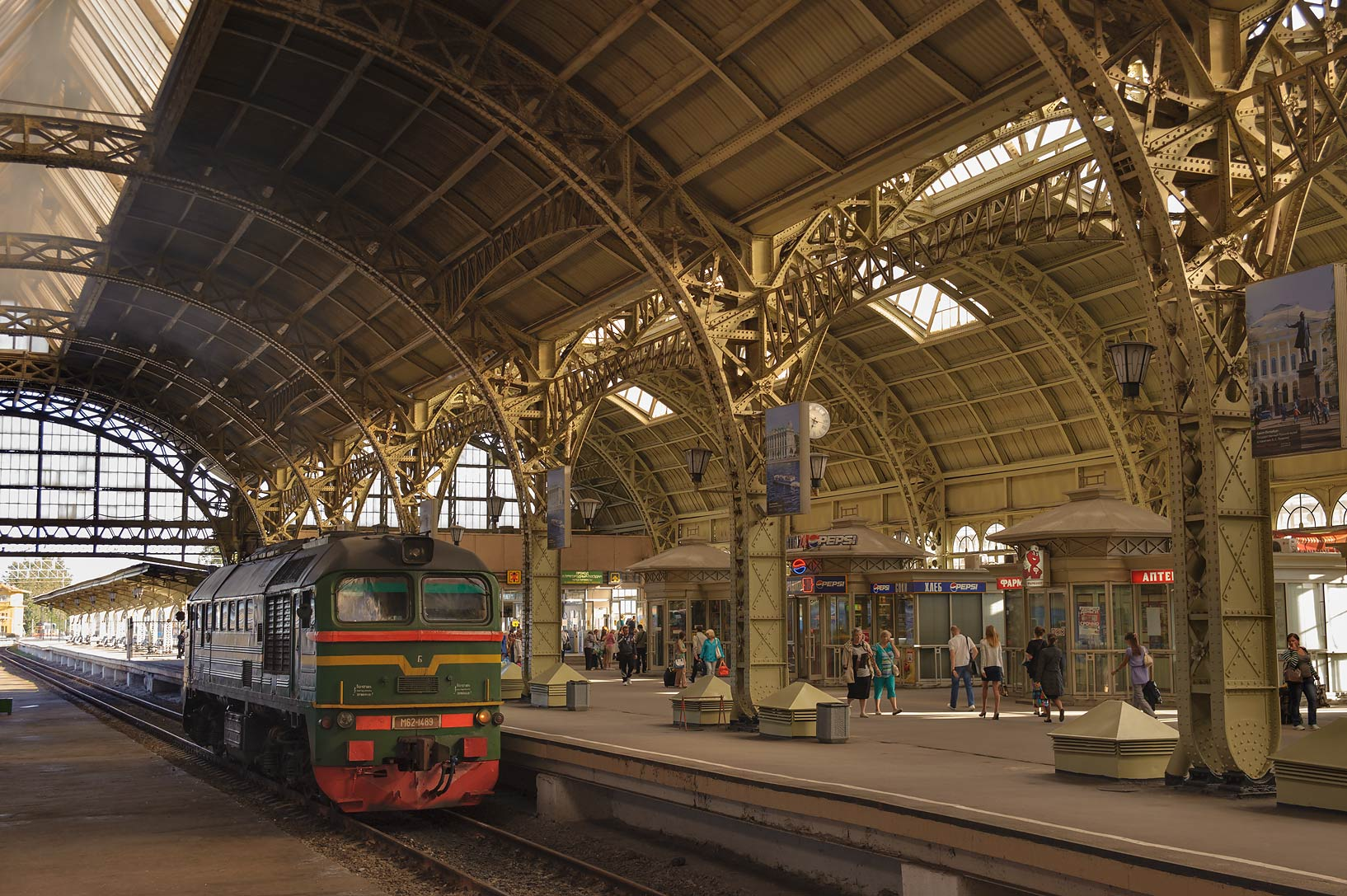 Train in Vitebsky Railway Station. St.Petersburg, Russia