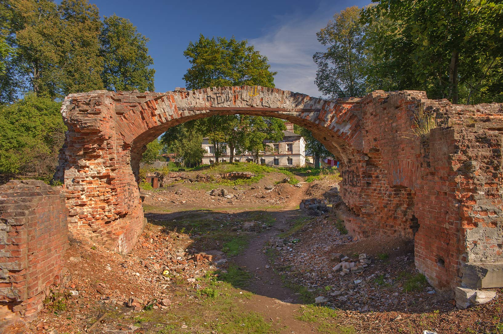 Stone arch of Polovtsev (Rapti) Palace in...from Luga. Leningrad Region, Russia