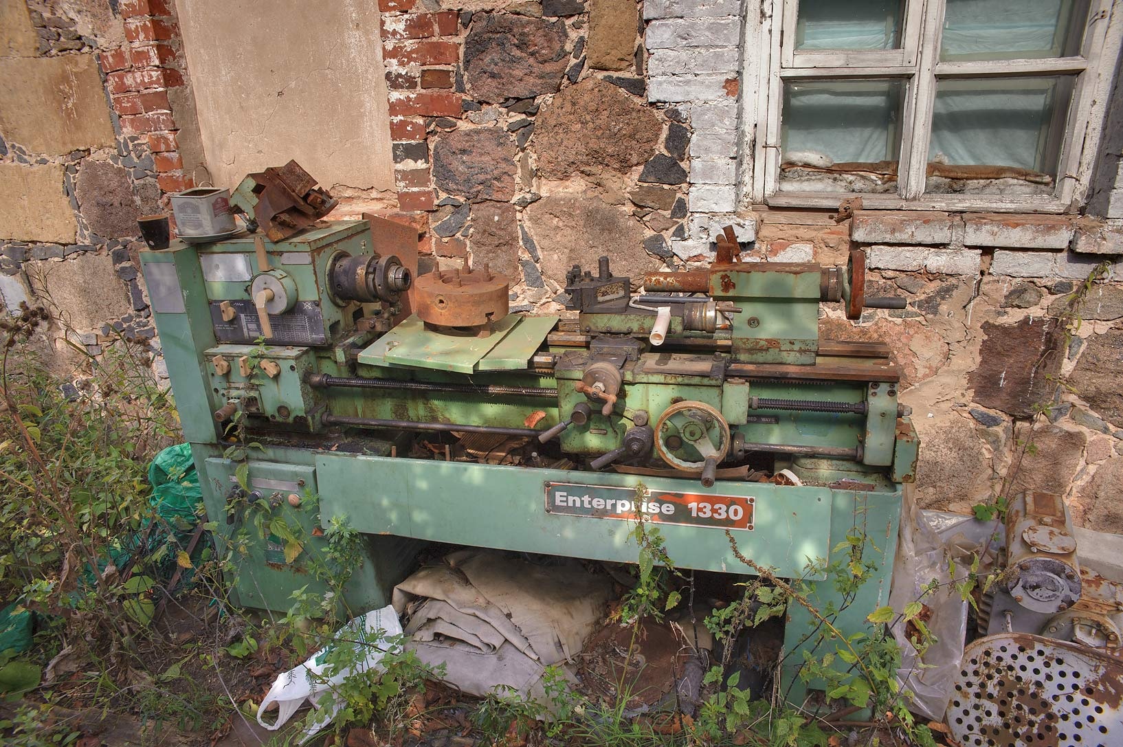 Old Metal Lathe Enterprise 1330 in John-Bogoslov...from Luga. Leningrad Region, Russia