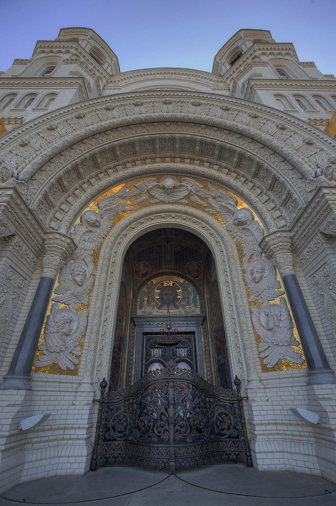 Gate of Naval Cathedral of St.Nicholas. Kronstadt, part of St.Petersburg, Russia